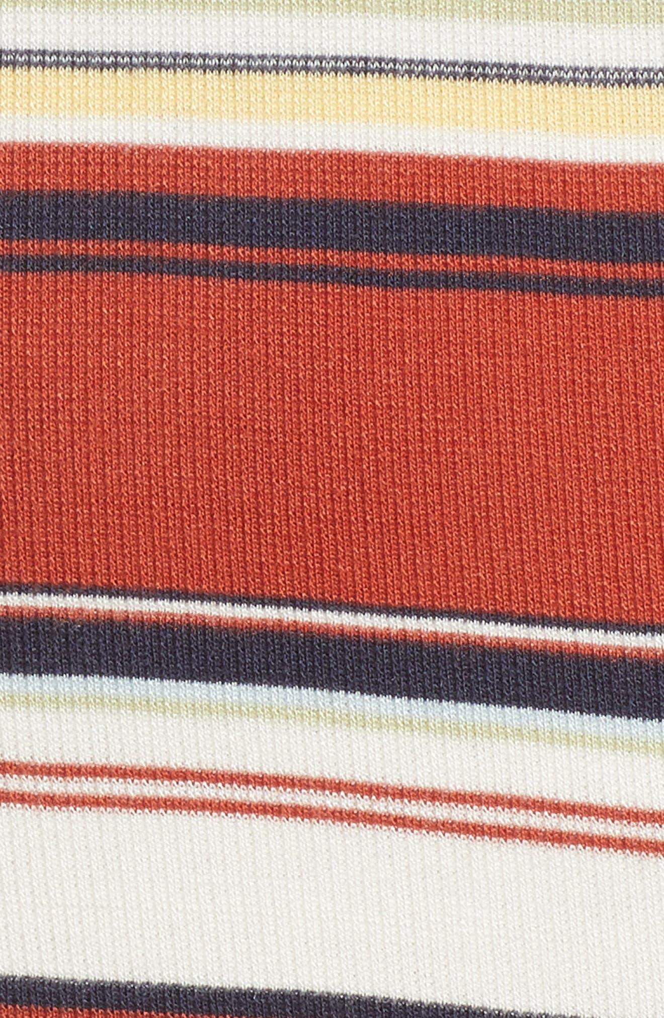 Homesick Stripe Ribbed Dress,                             Alternate thumbnail 6, color,                             Brick Multi