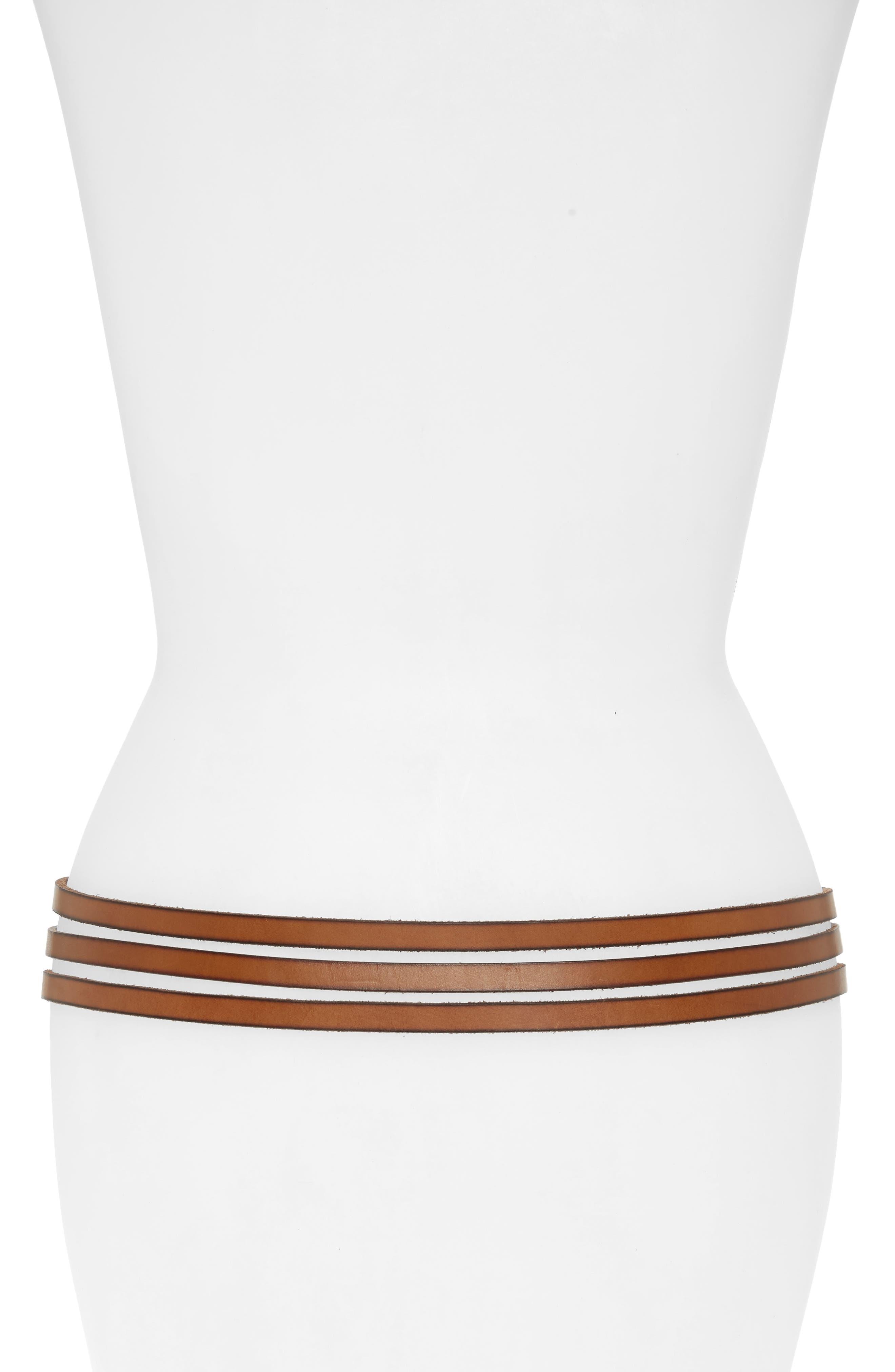 Multi Strap Leather Belt,                             Alternate thumbnail 2, color,                             Tan