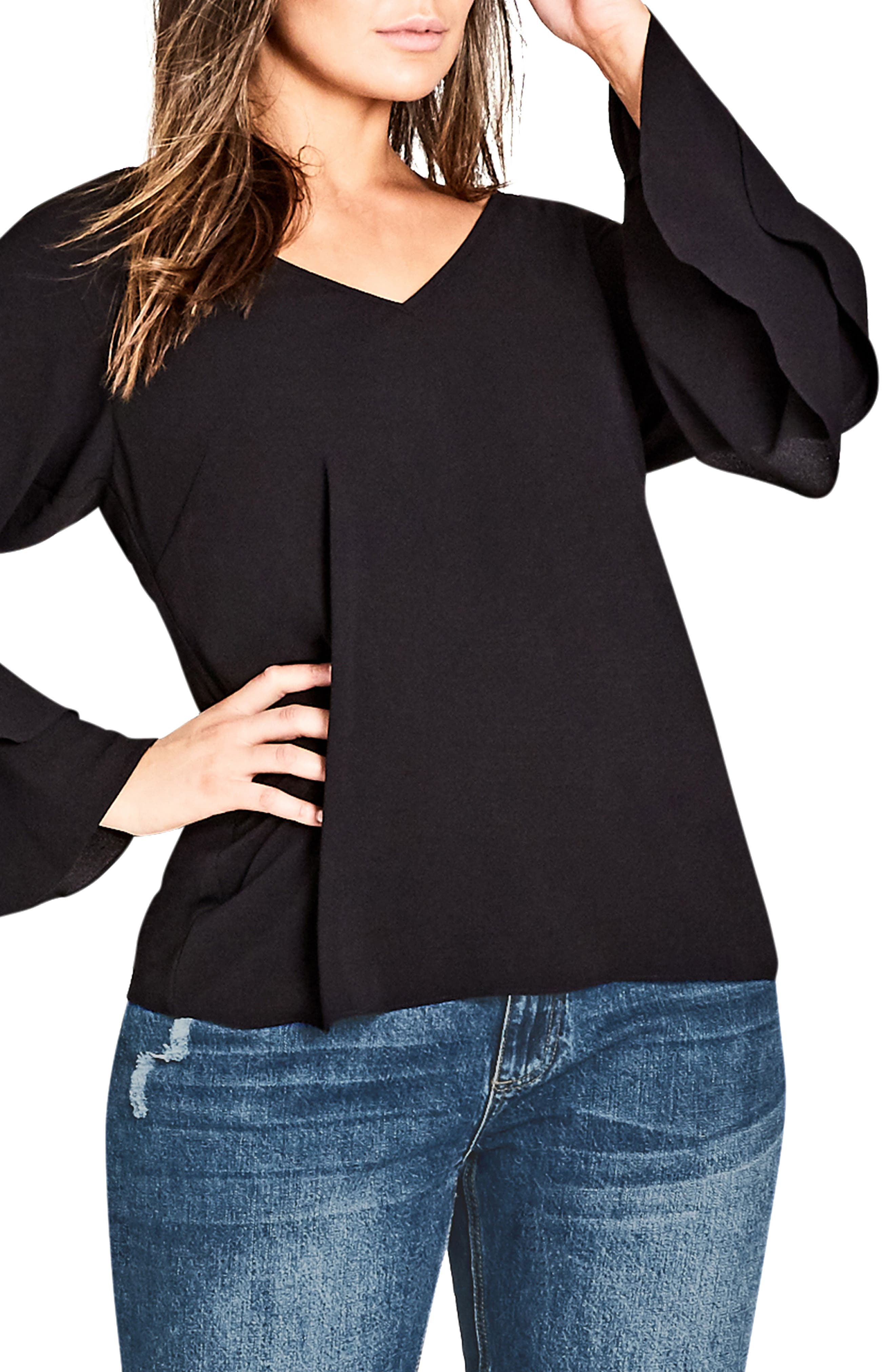 Double Frill Sleeve Top,                         Main,                         color, Black
