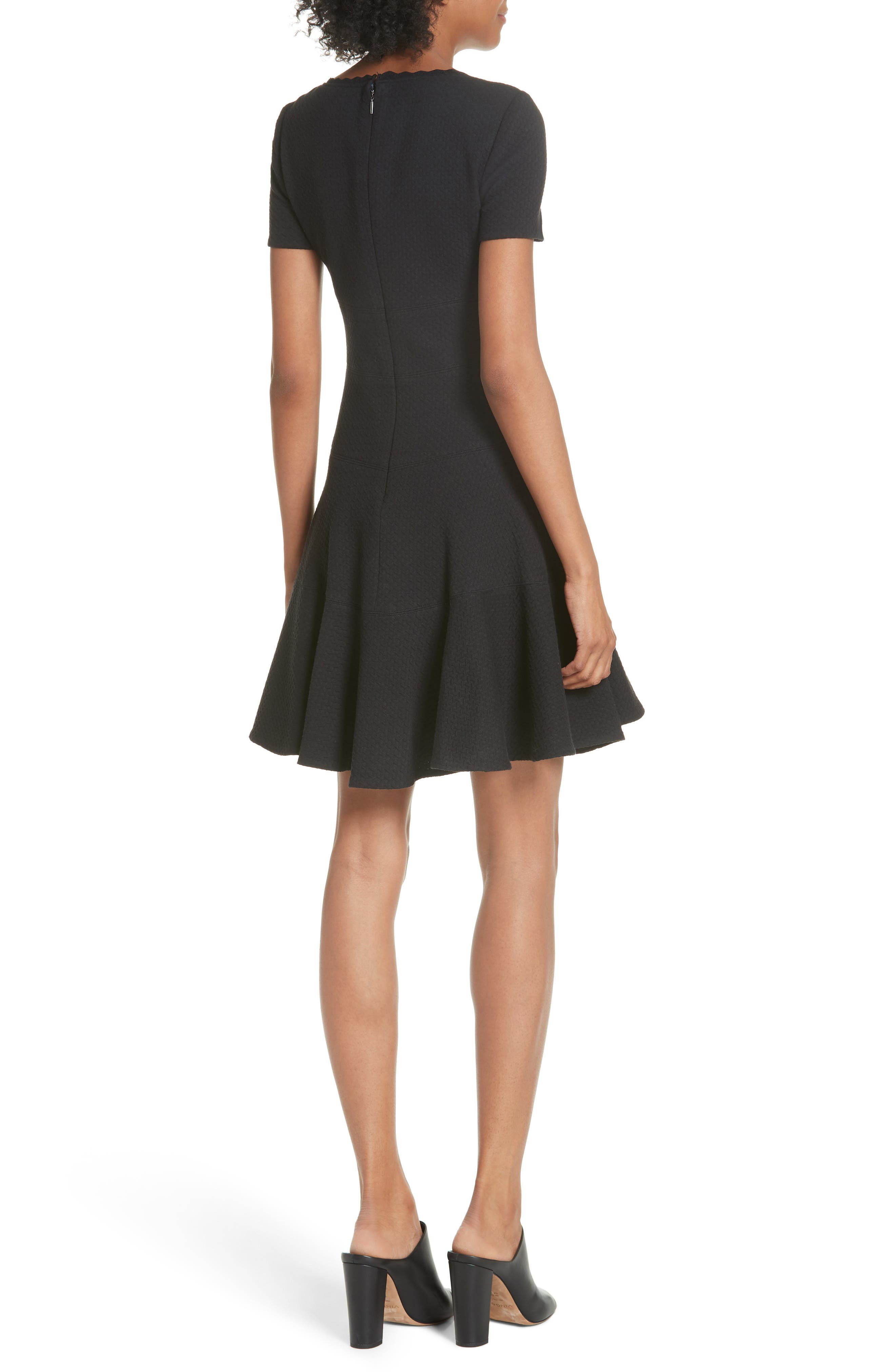 Textured Stretch Cotton Fit & Flare Dress,                             Alternate thumbnail 2, color,                             Black