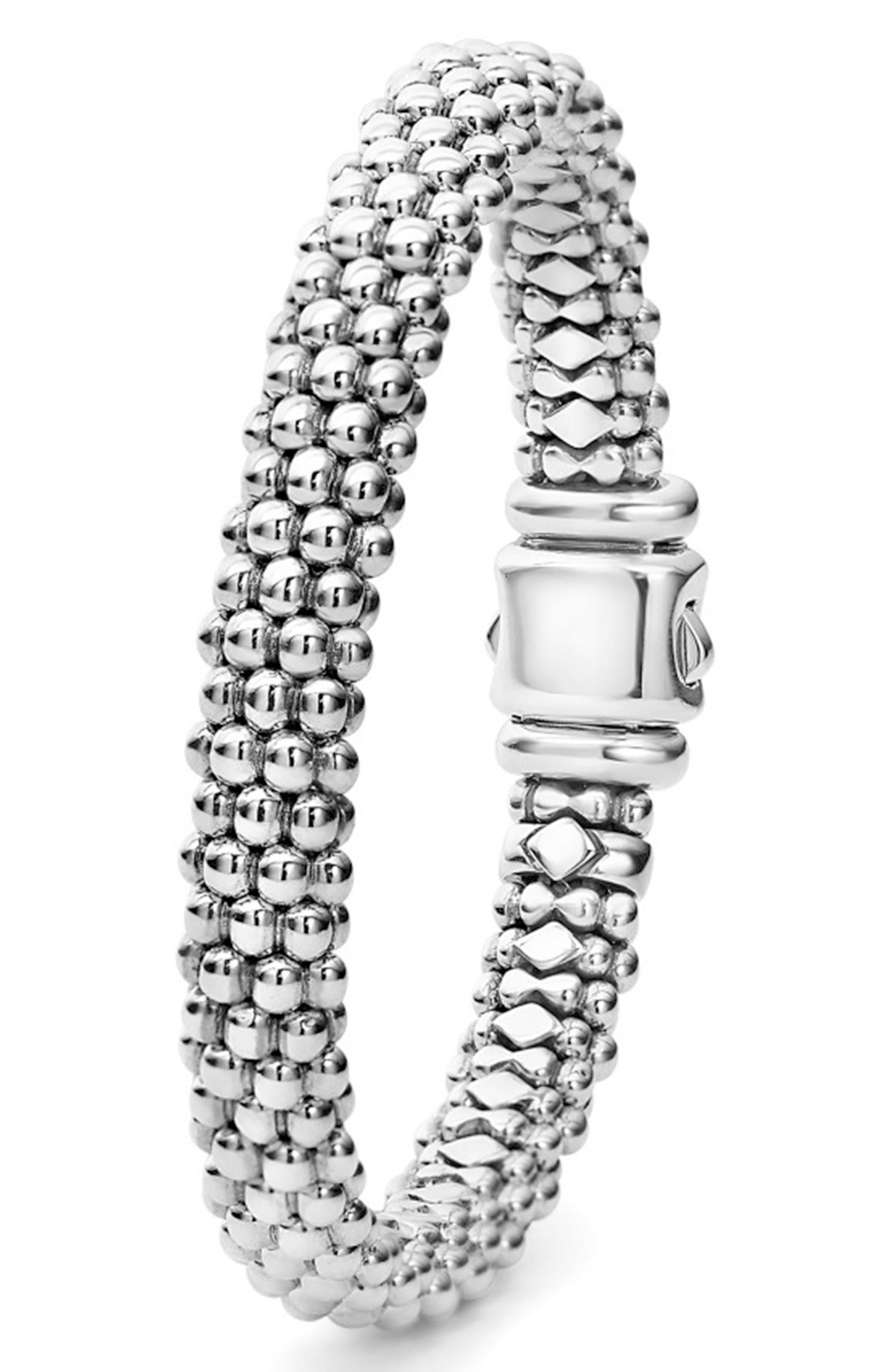 Caviar Rope Bracelet,                             Alternate thumbnail 3, color,                             Silver