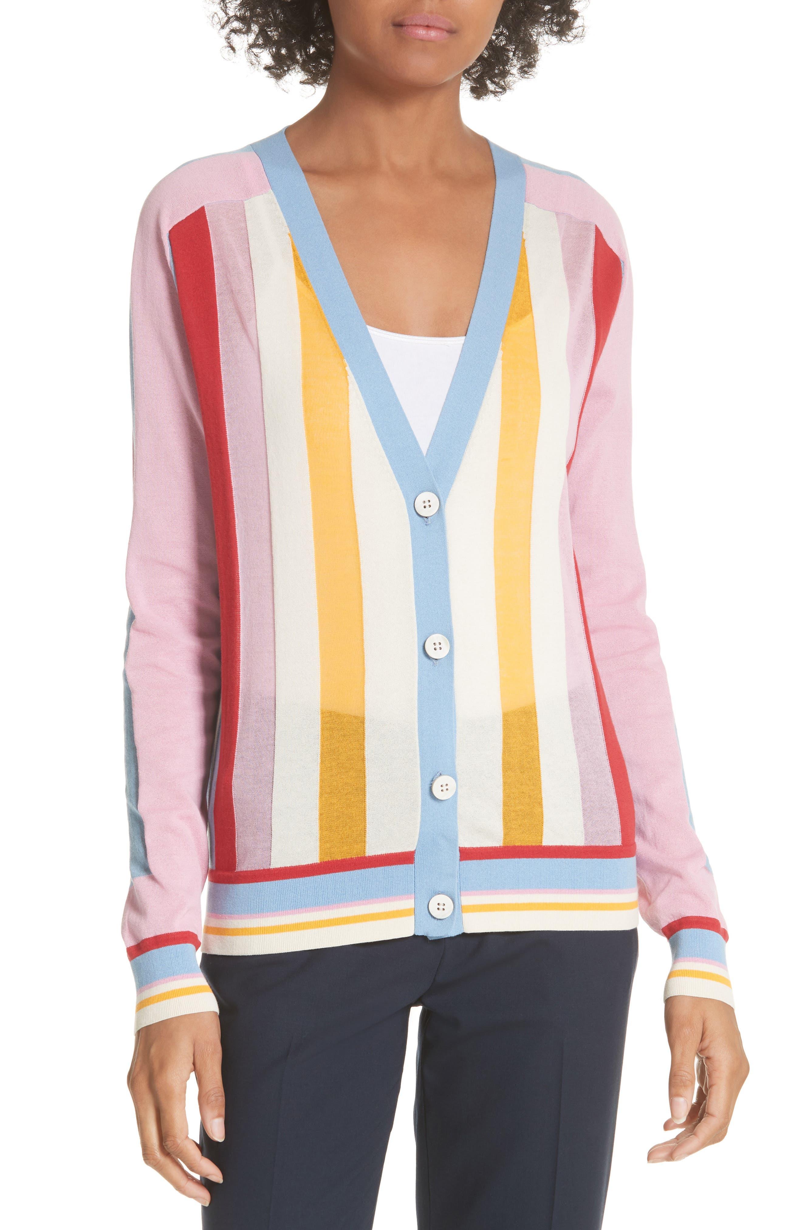 Diane von Furstenberg Colorblock Stripe Cardigan,                             Main thumbnail 1, color,                             Taffy Multi