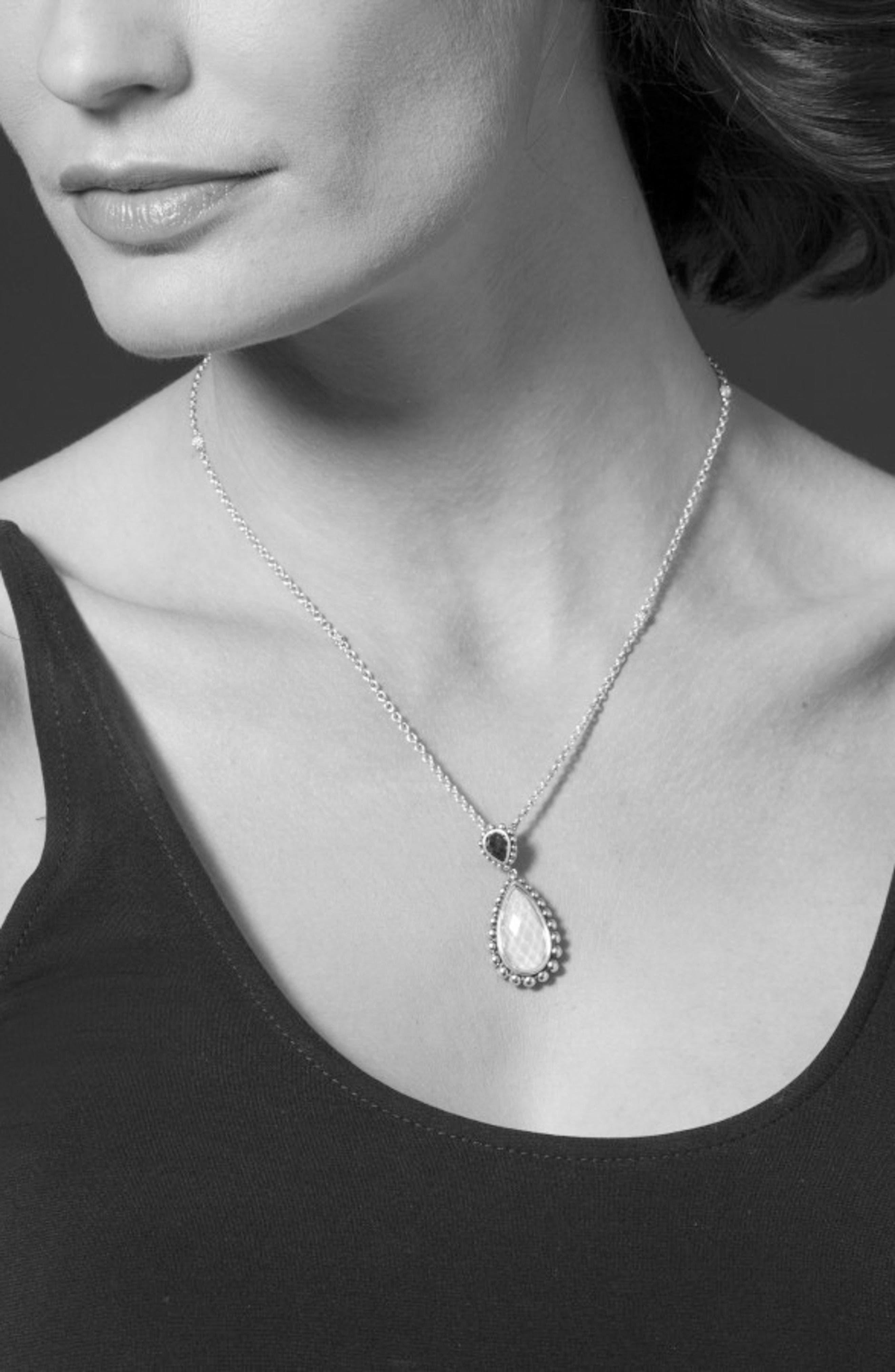 Maya Semiprecious Stone Pendant Necklace,                             Alternate thumbnail 3, color,                             Turquoise
