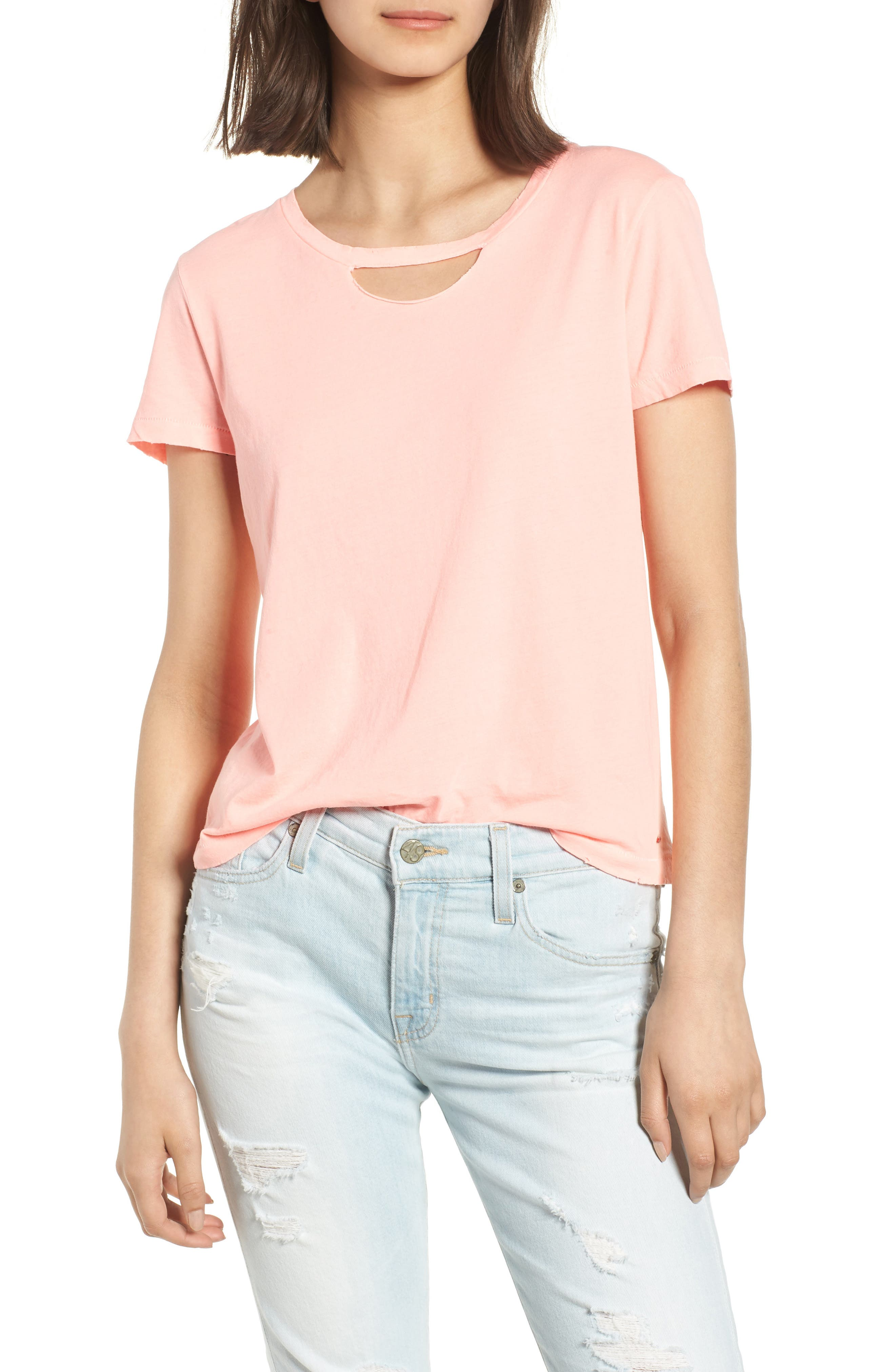 Abigail Deconstructed Tee,                             Main thumbnail 1, color,                             Coral