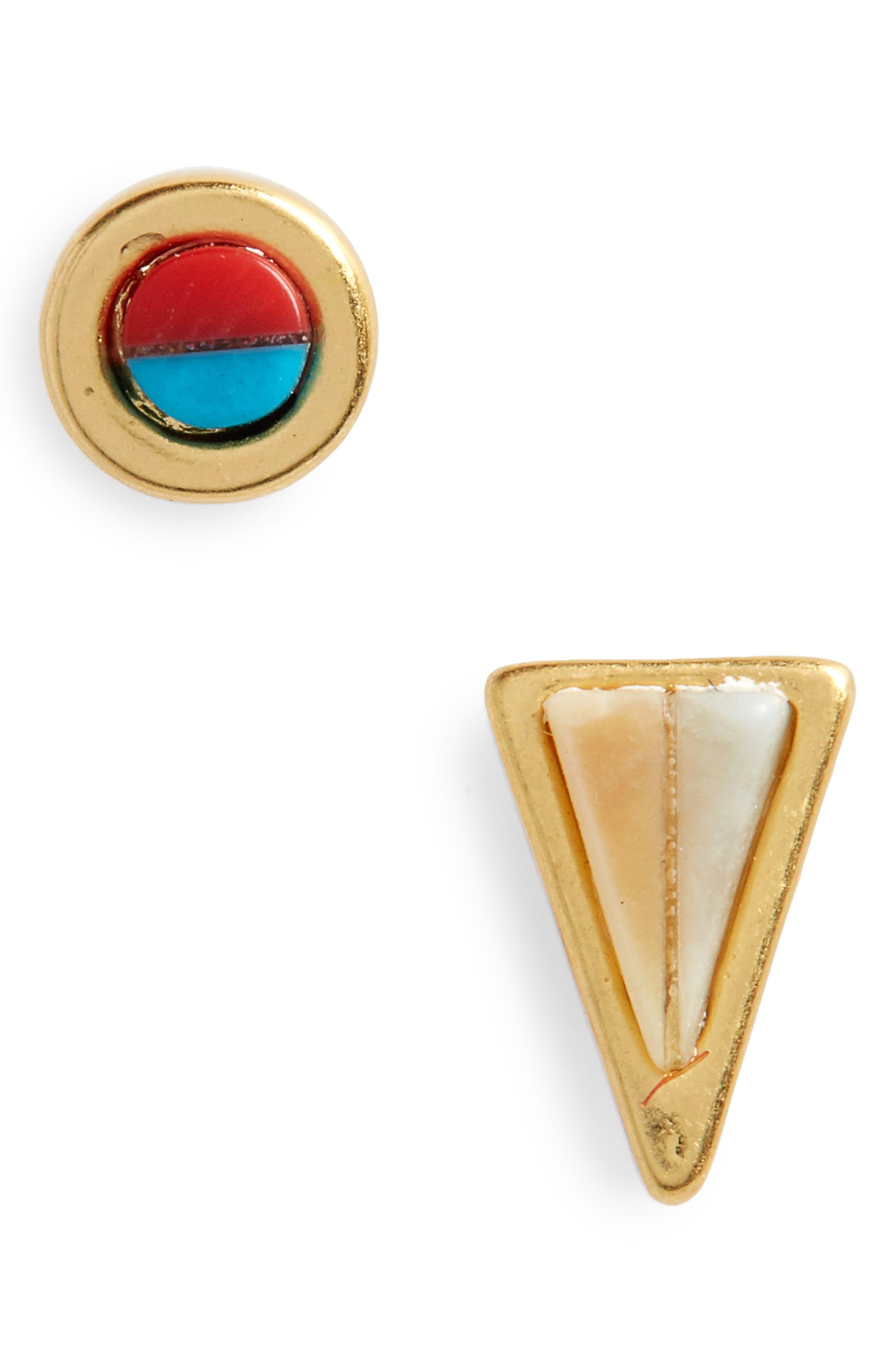 Delicate Mismatched Stud Earrings,                             Main thumbnail 1, color,                             Vintage Gold