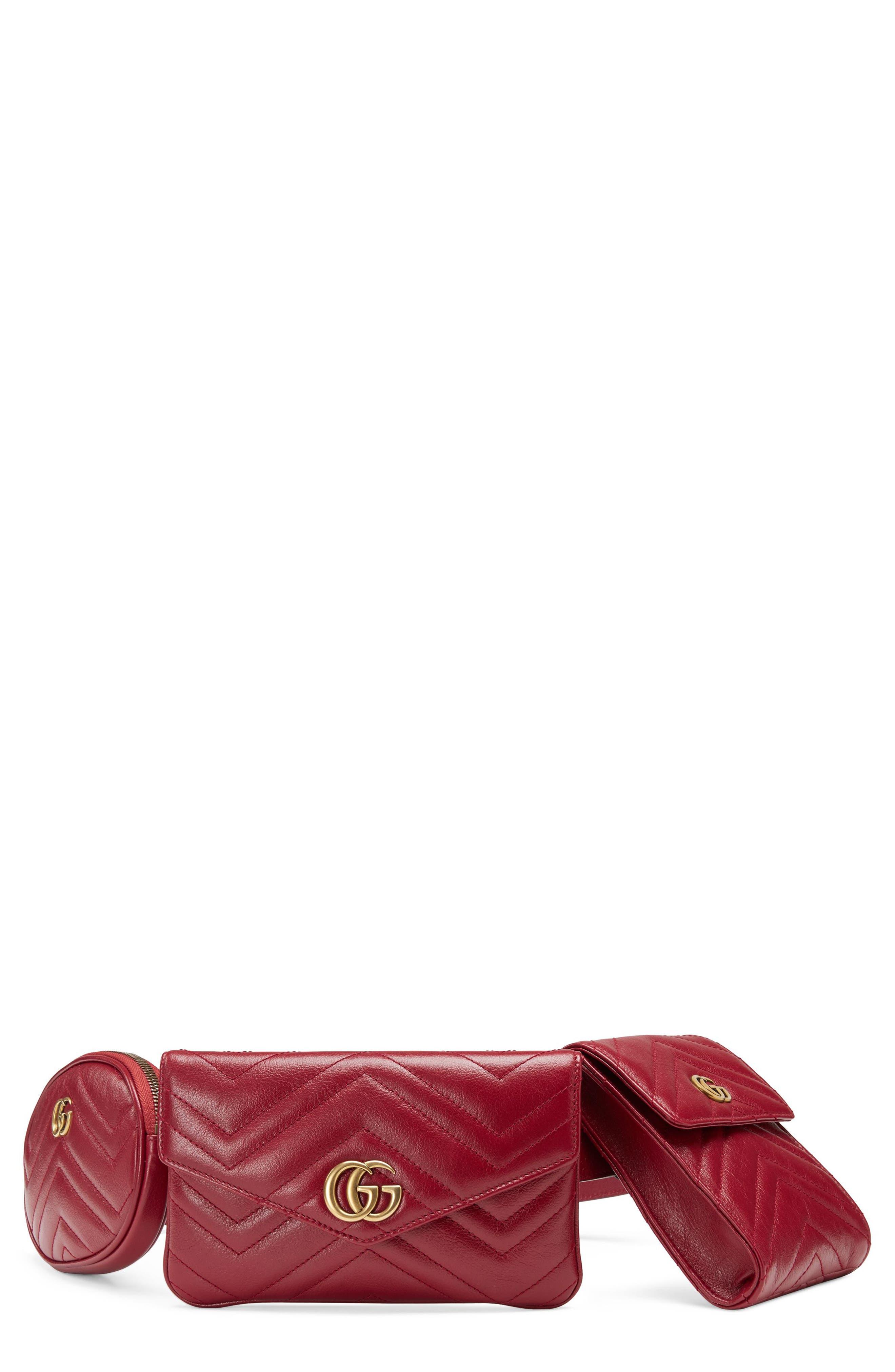 GG Marmont 2.0 Matelassé Triple Pouch Leather Belt Bag,                         Main,                         color, Cerise/ Cerise