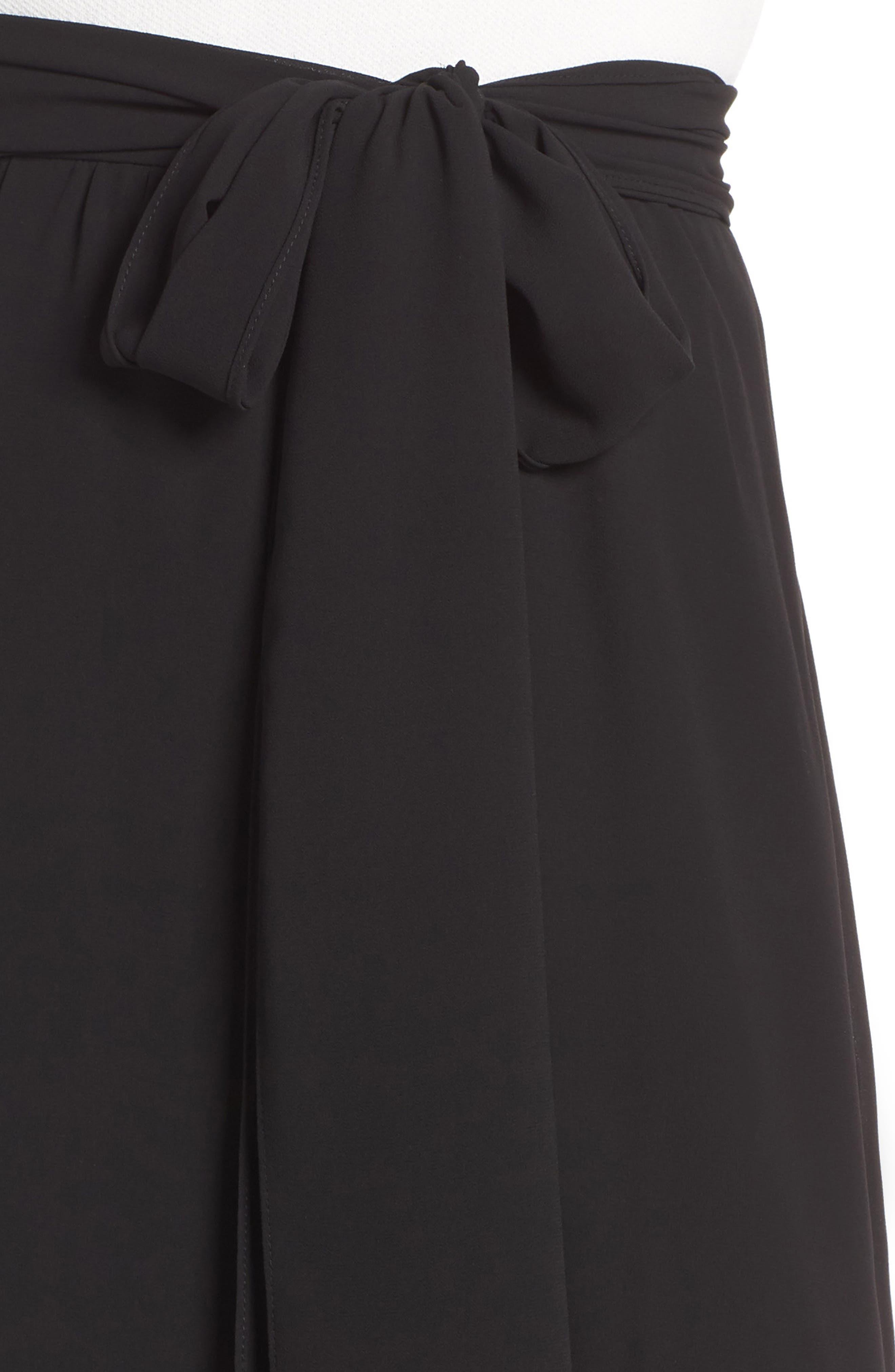 Asymmetrical High/Low Flounce Skirt,                             Alternate thumbnail 4, color,                             Black