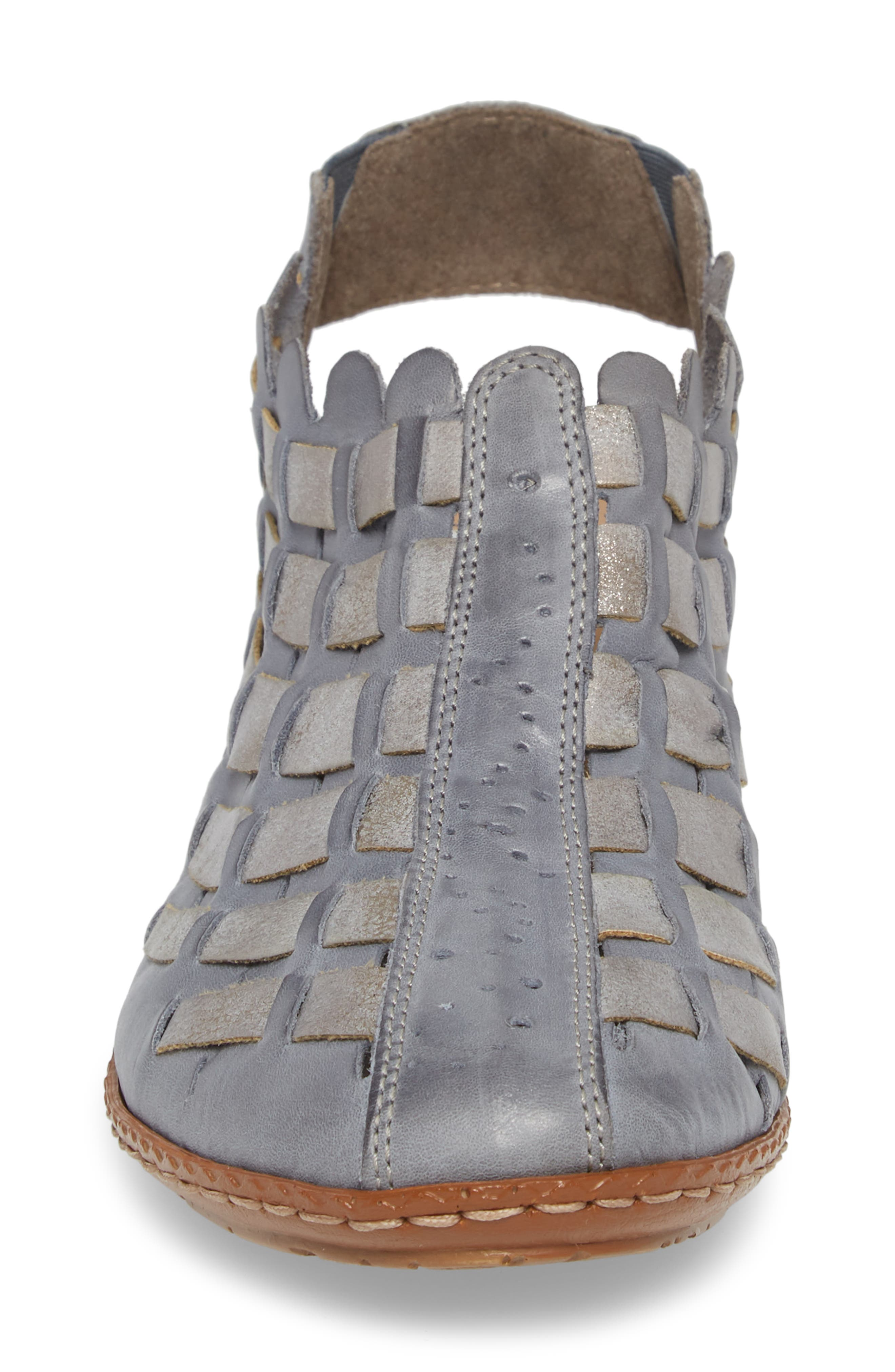 'Sina' Woven Bootie,                             Alternate thumbnail 4, color,                             Azur Grey Leather