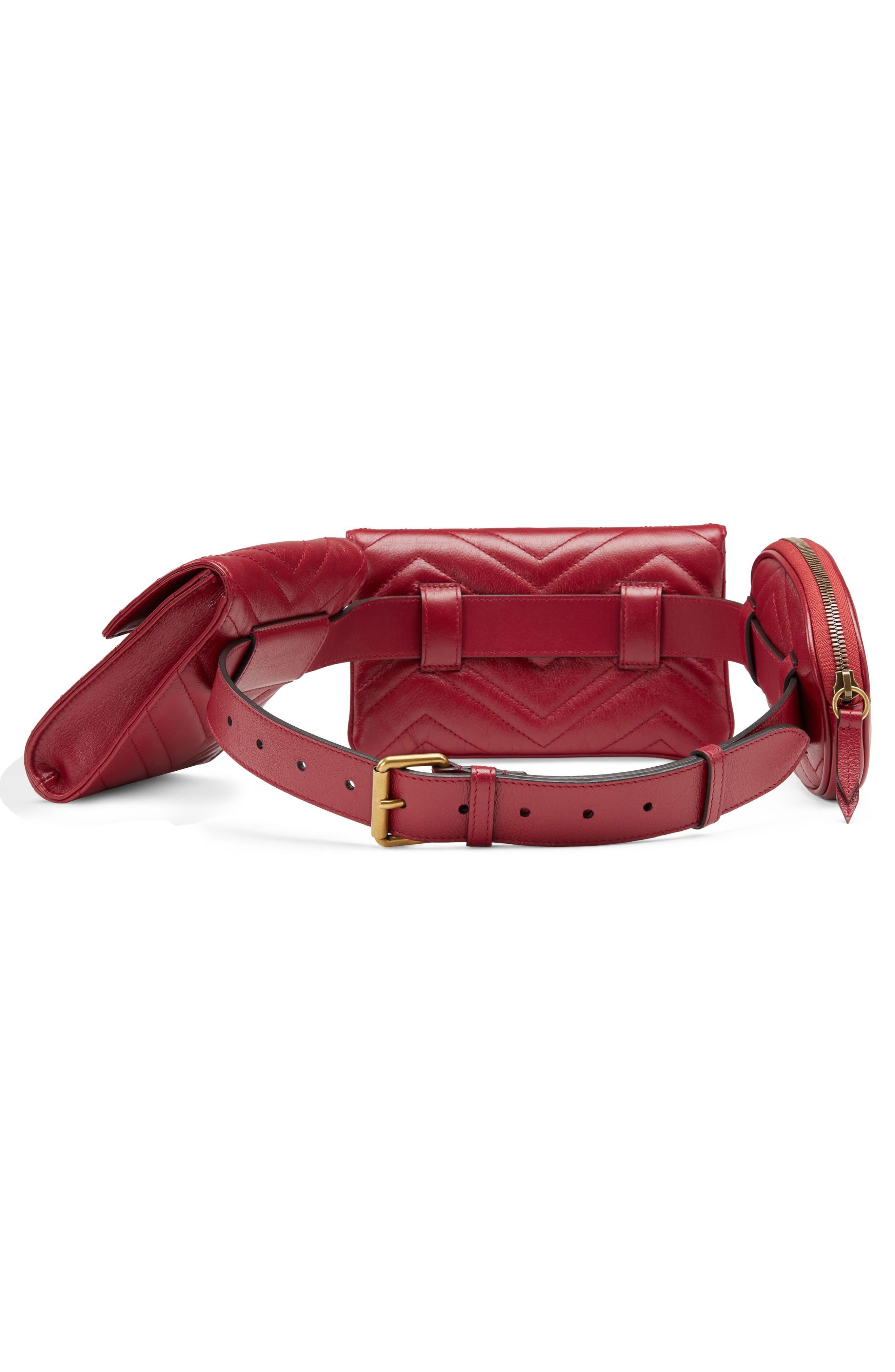 GG Marmont 2.0 Matelassé Triple Pouch Leather Belt Bag,                             Alternate thumbnail 2, color,                             Cerise/ Cerise