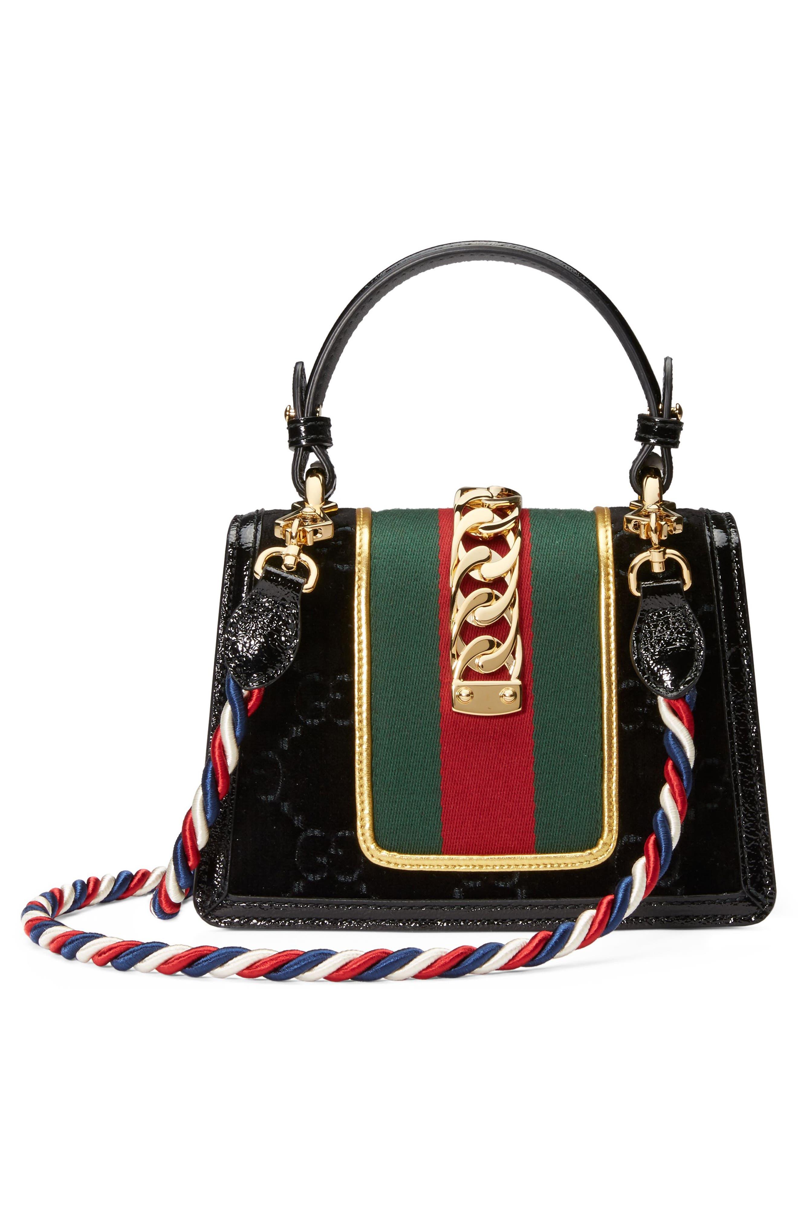 Mini Sylvie Velvet Top Handle Bag,                             Alternate thumbnail 2, color,                             Nero/ Vert Red/ Mystic White