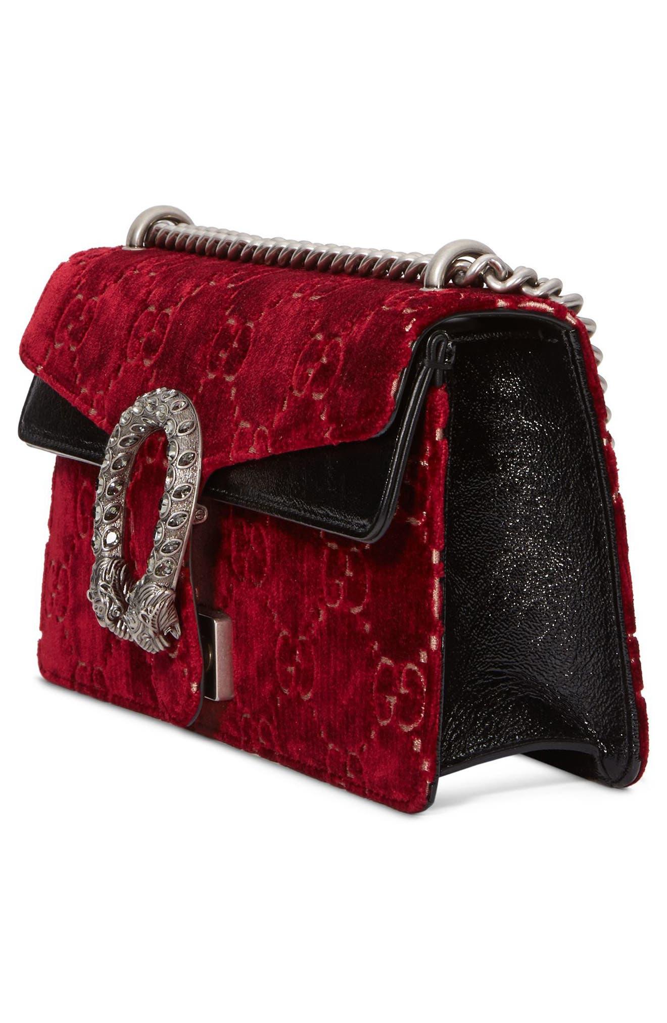 Small Dionysus GG Velvet Shoulder Bag,                             Alternate thumbnail 4, color,                             Red Cipria/ Black Diamond