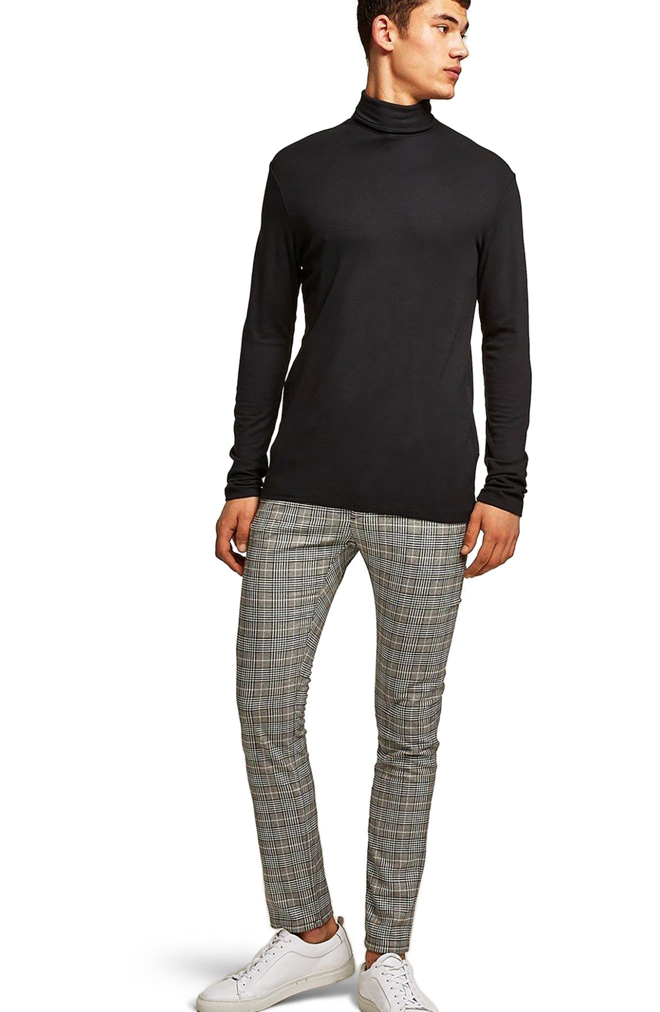 Stretch Skinny Fit Check Chinos,                             Alternate thumbnail 5, color,                             Grey Multi