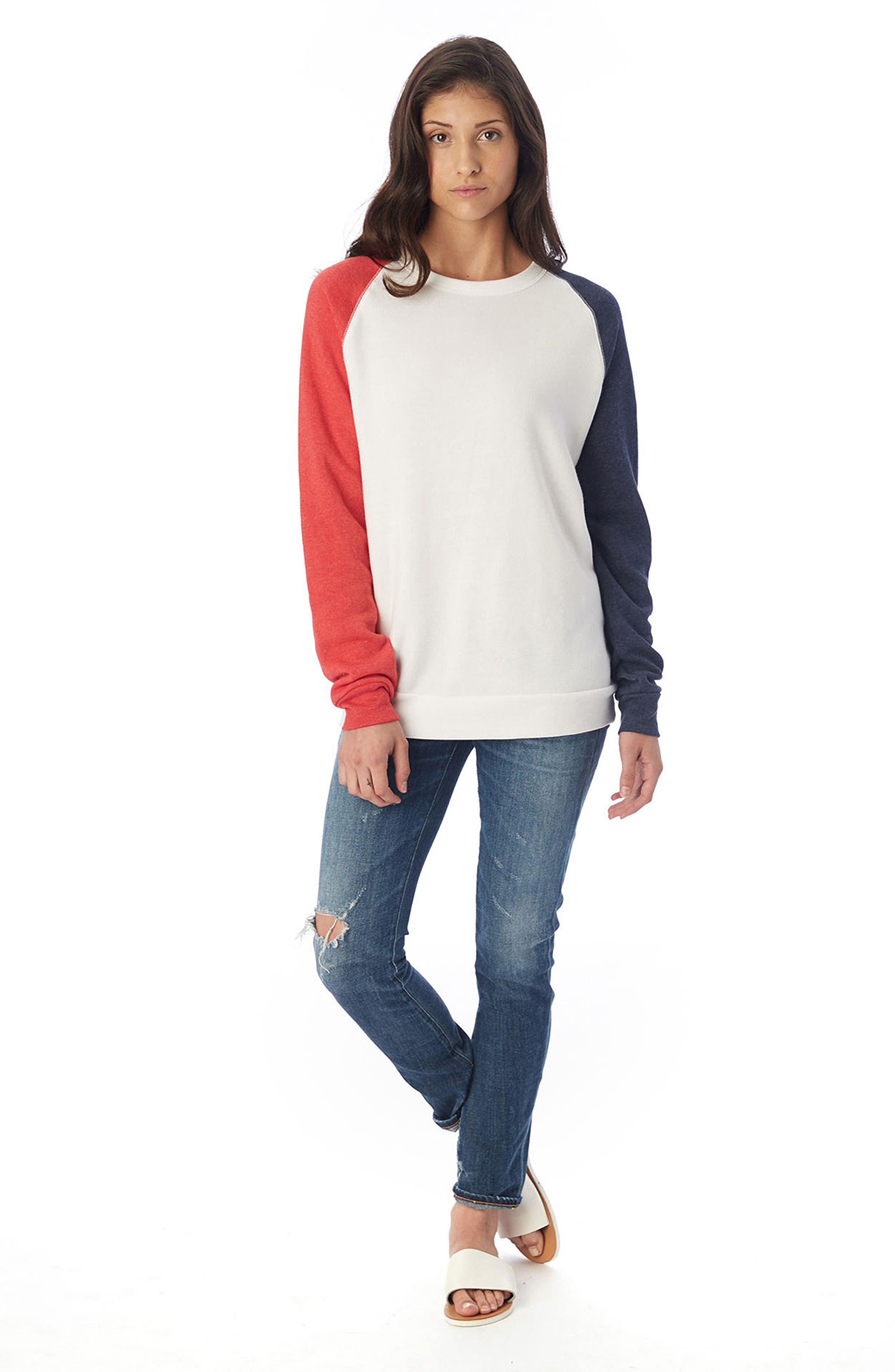 USA Champ Sweatshirt,                             Alternate thumbnail 4, color,                             Ivory/ True Red/ True Navy