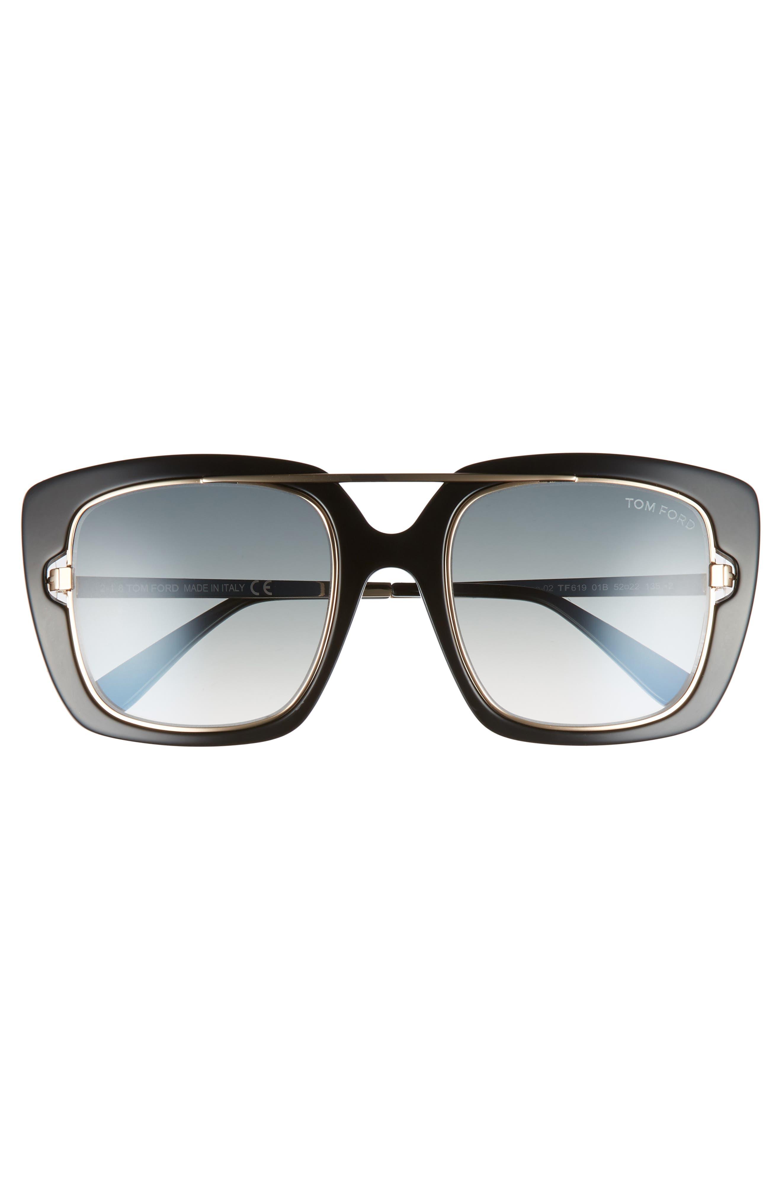 Marissa 52mm Sunglasses,                             Alternate thumbnail 3, color,                             Shiny Black/ Gradient Smoke