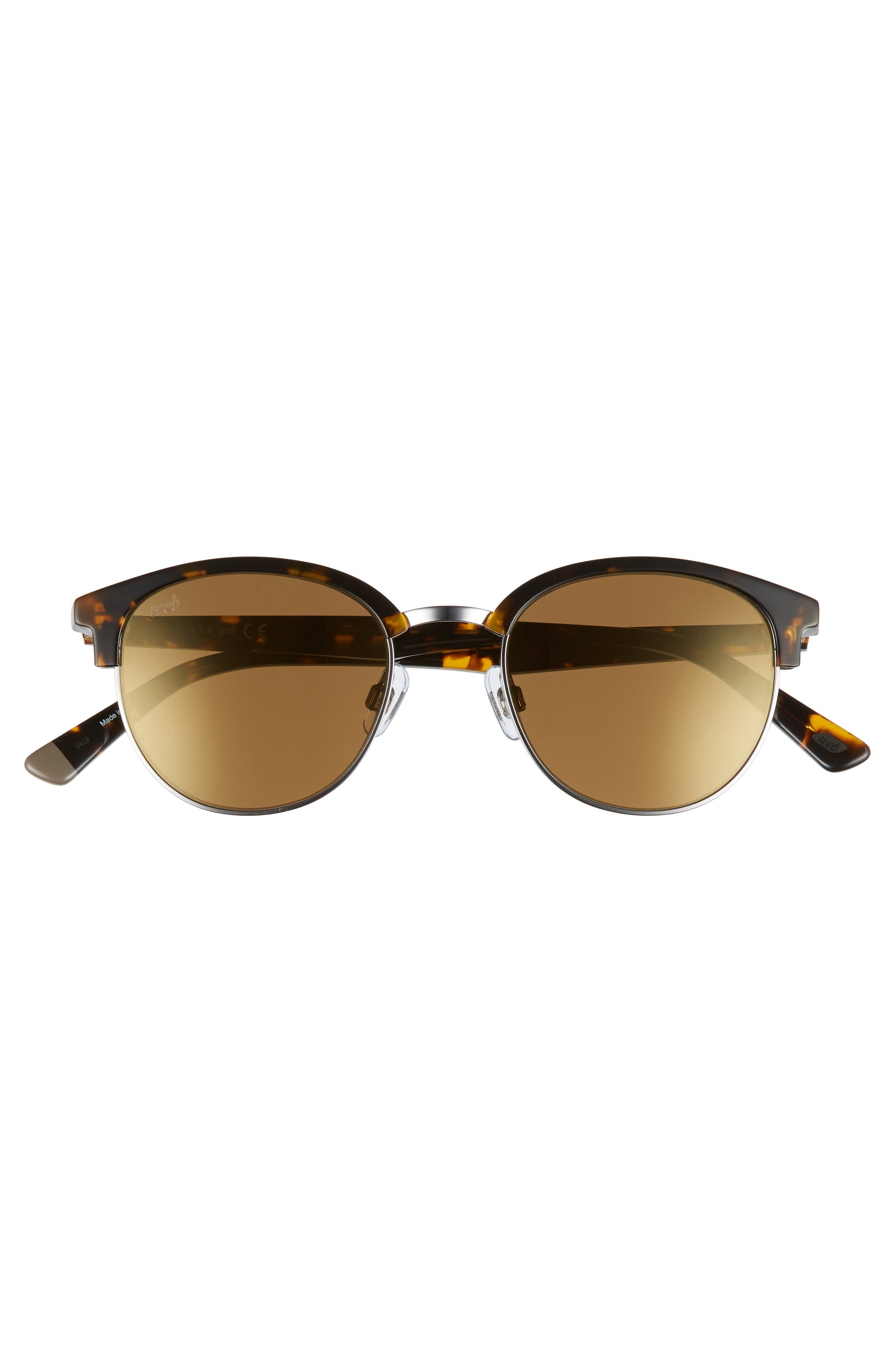 49mm Half Rim Sunglasses,                             Alternate thumbnail 3, color,                             Shiny Gunmetal/ Brown Mirror