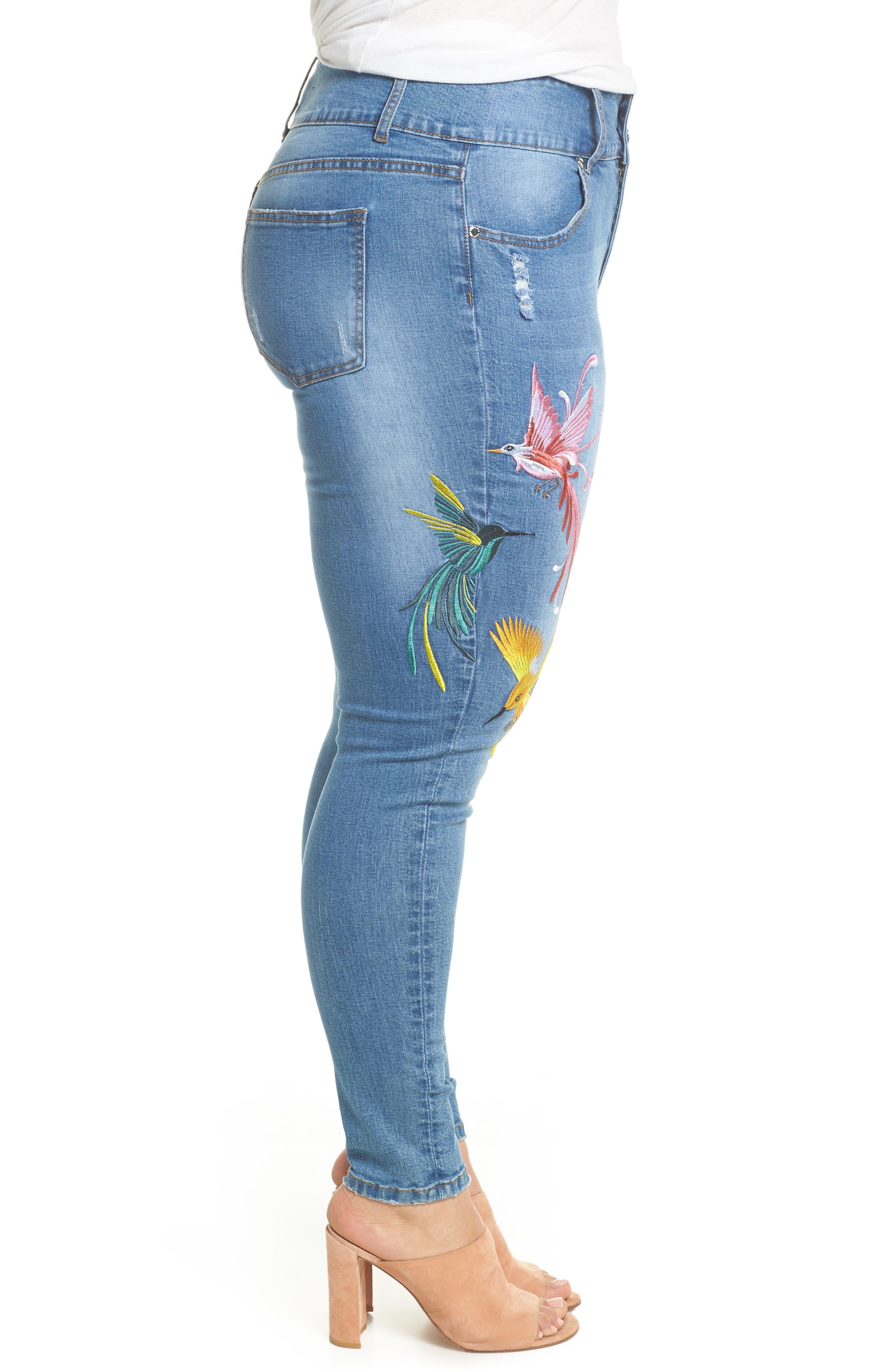 Summer Paradise Embroidered Stretch Skinny Jeans,                             Alternate thumbnail 3, color,                             Light Denim