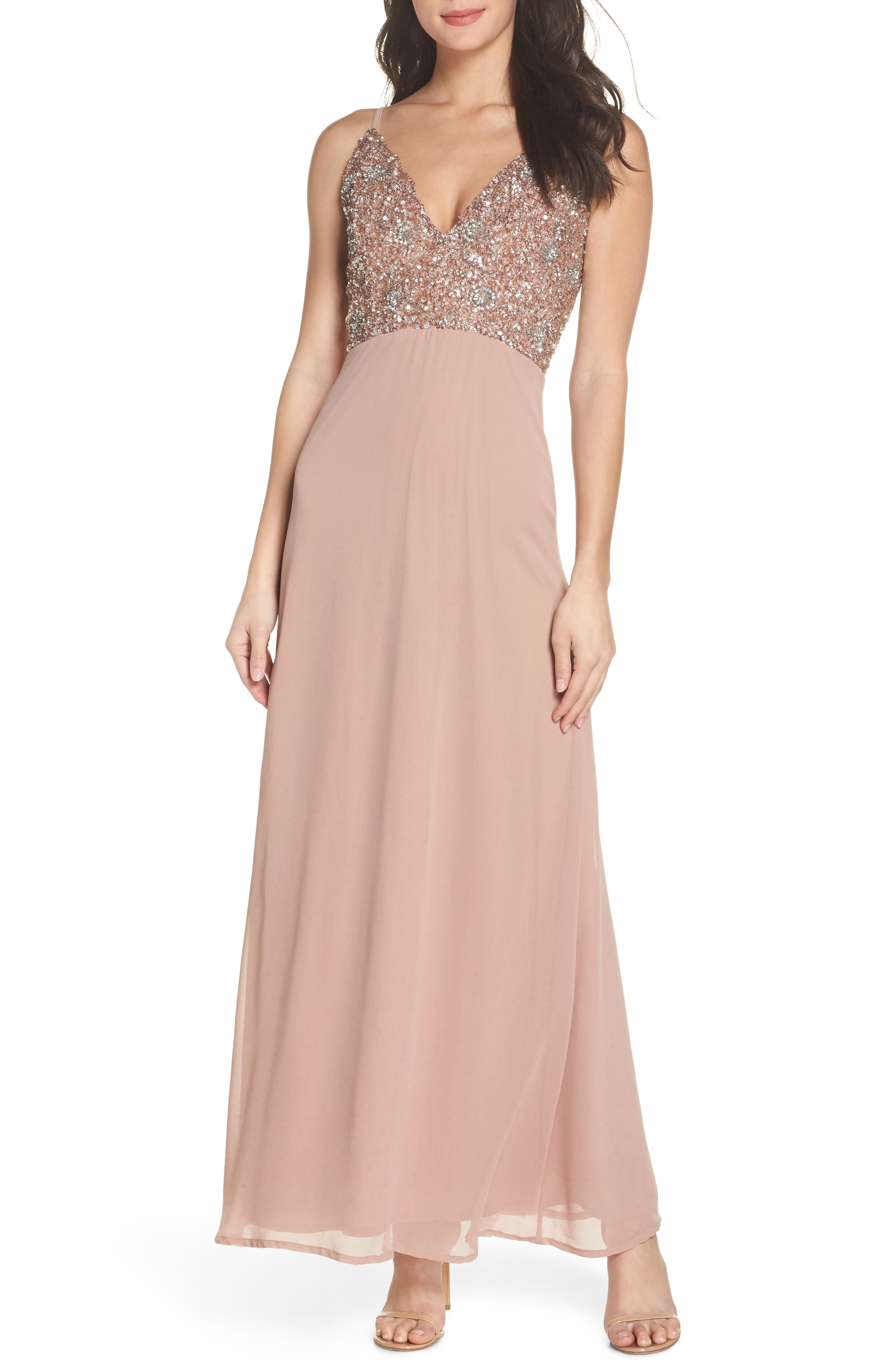 Embellished Chiffon Gown,                         Main,                         color, Dusty Pink