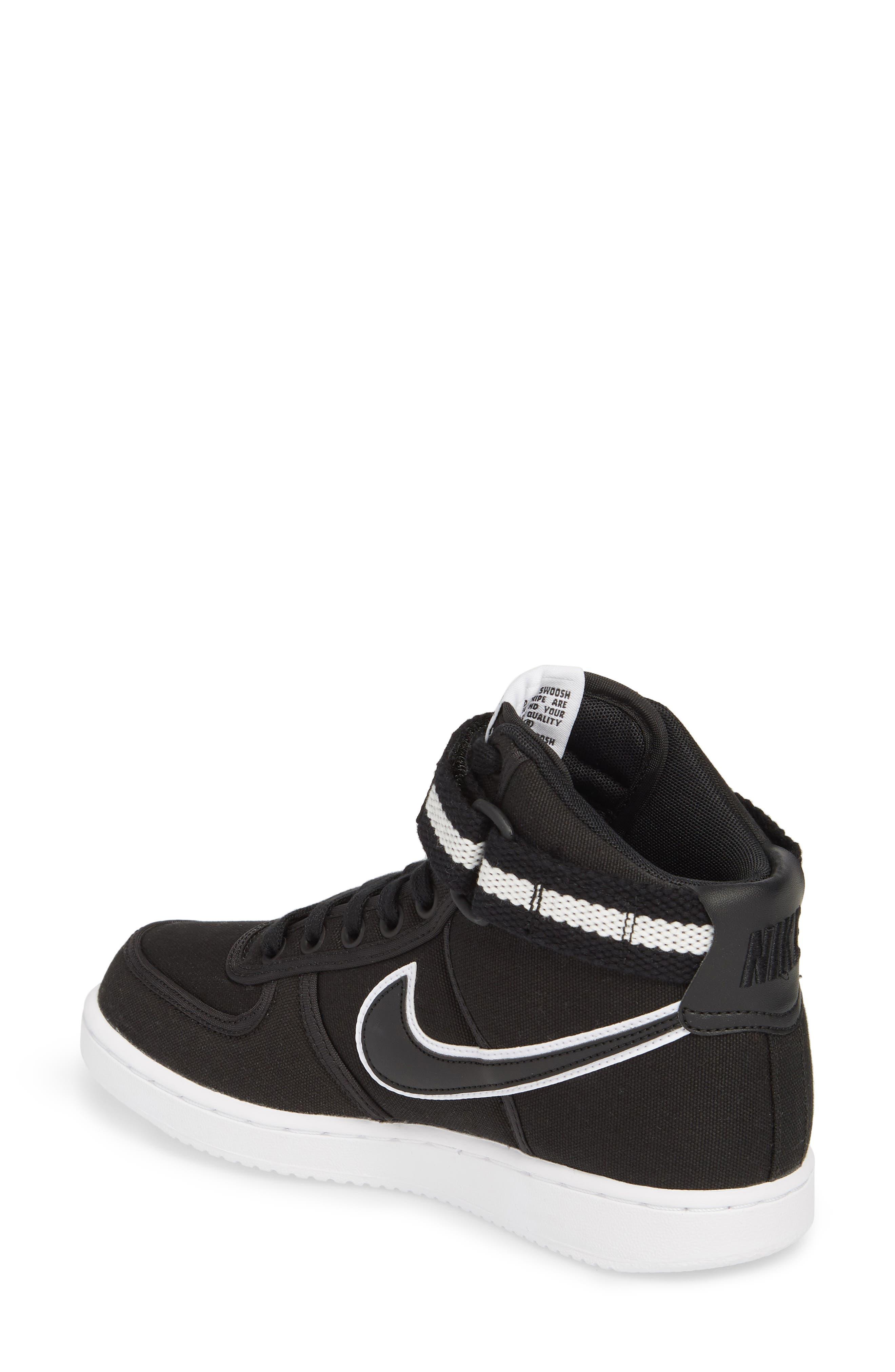 Vandal High Top Sneaker,                             Alternate thumbnail 2, color,                             Black/ Black-White