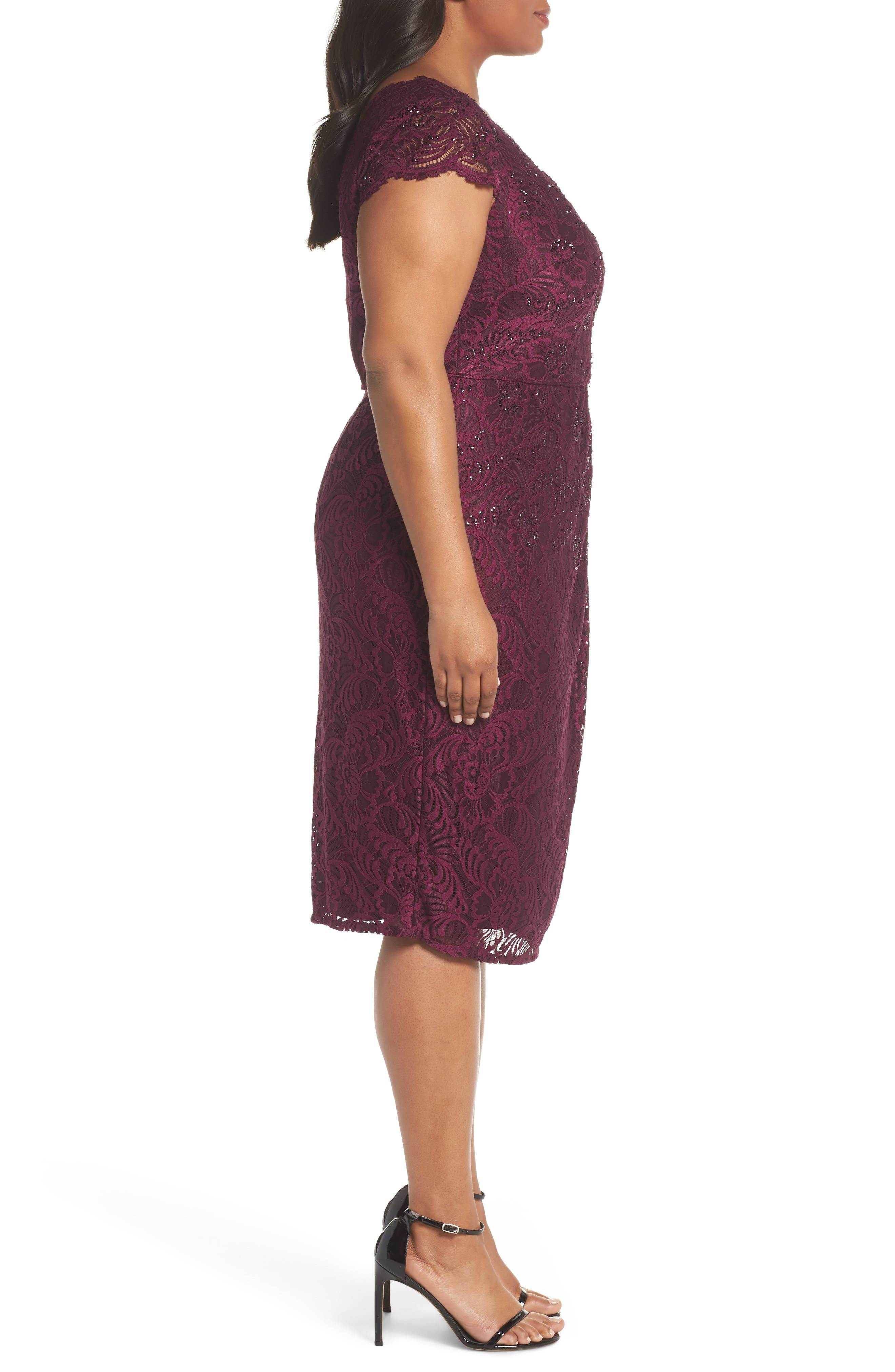 Embellished Stretch Lace Sheath Dress,                             Alternate thumbnail 3, color,                             Mulberry