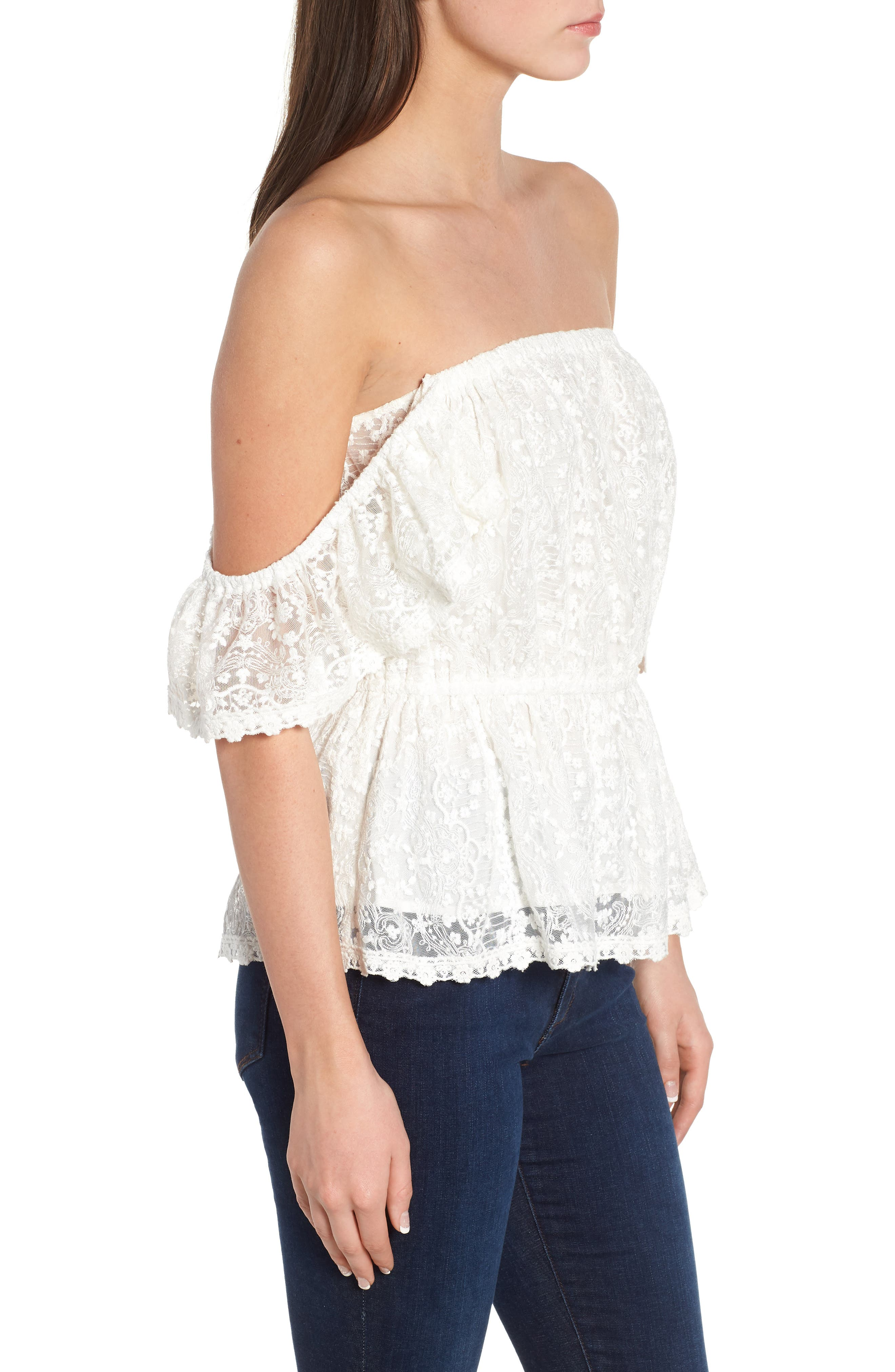 Breena Lace Off the Shoulder Top,                             Alternate thumbnail 3, color,                             Ivory