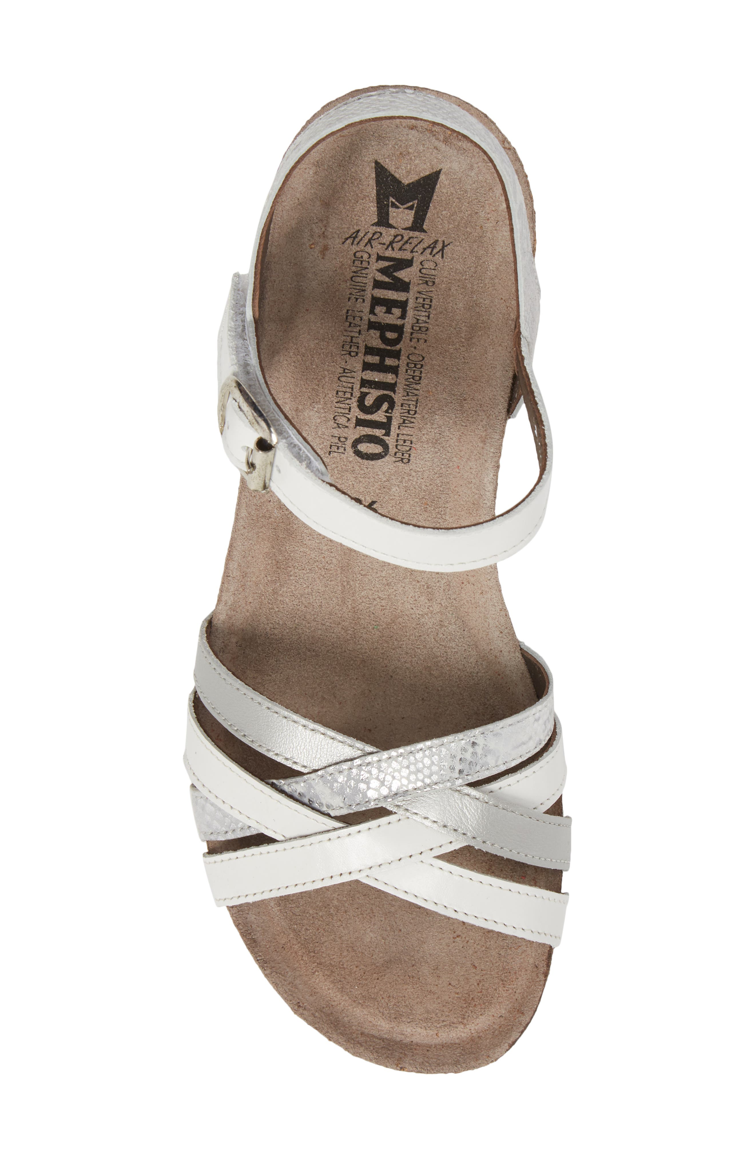 Mado Wedge Sandal,                             Alternate thumbnail 5, color,                             White Leather