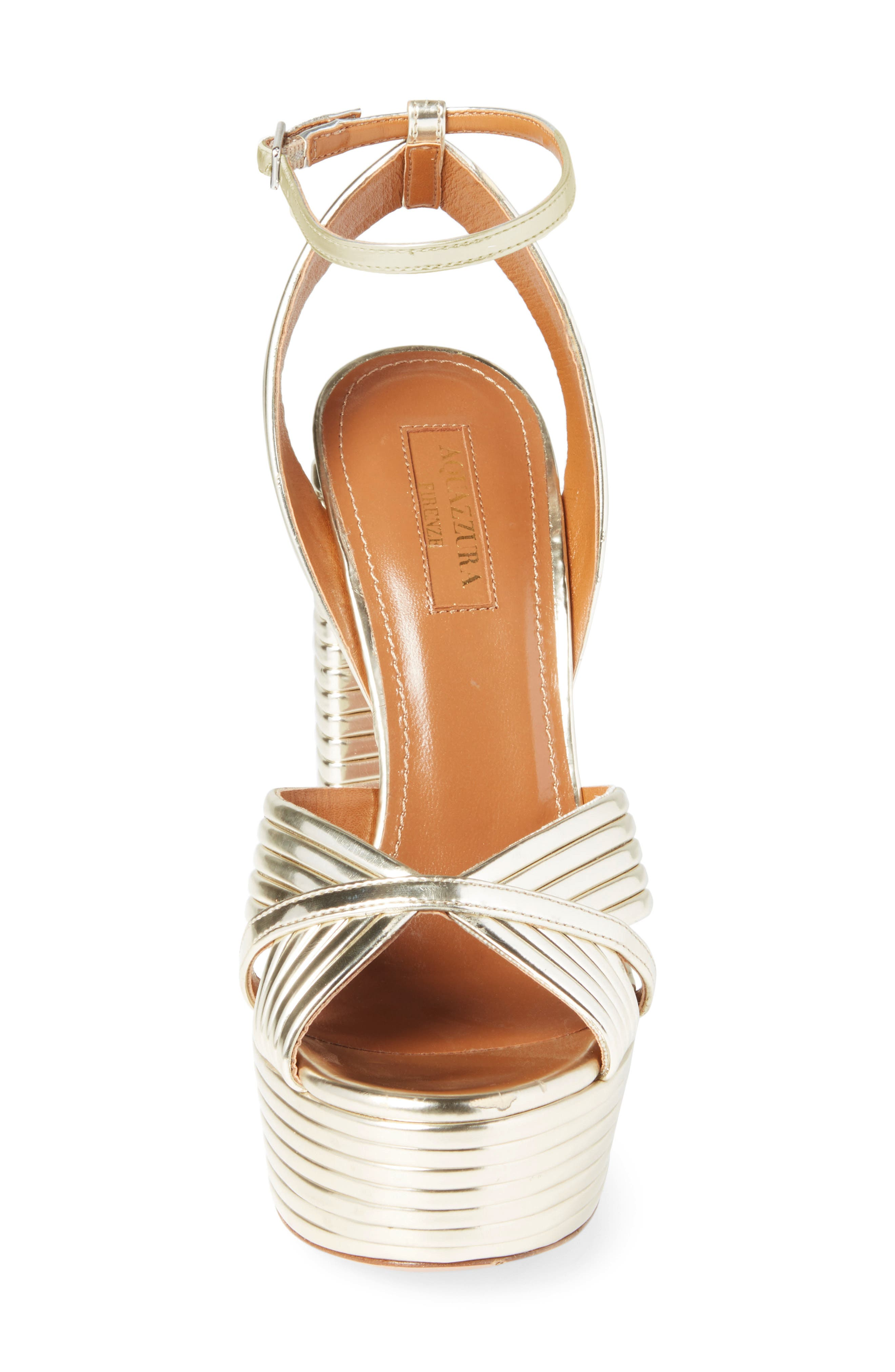 Sundance Platform Sandal,                             Alternate thumbnail 4, color,                             Light Gold