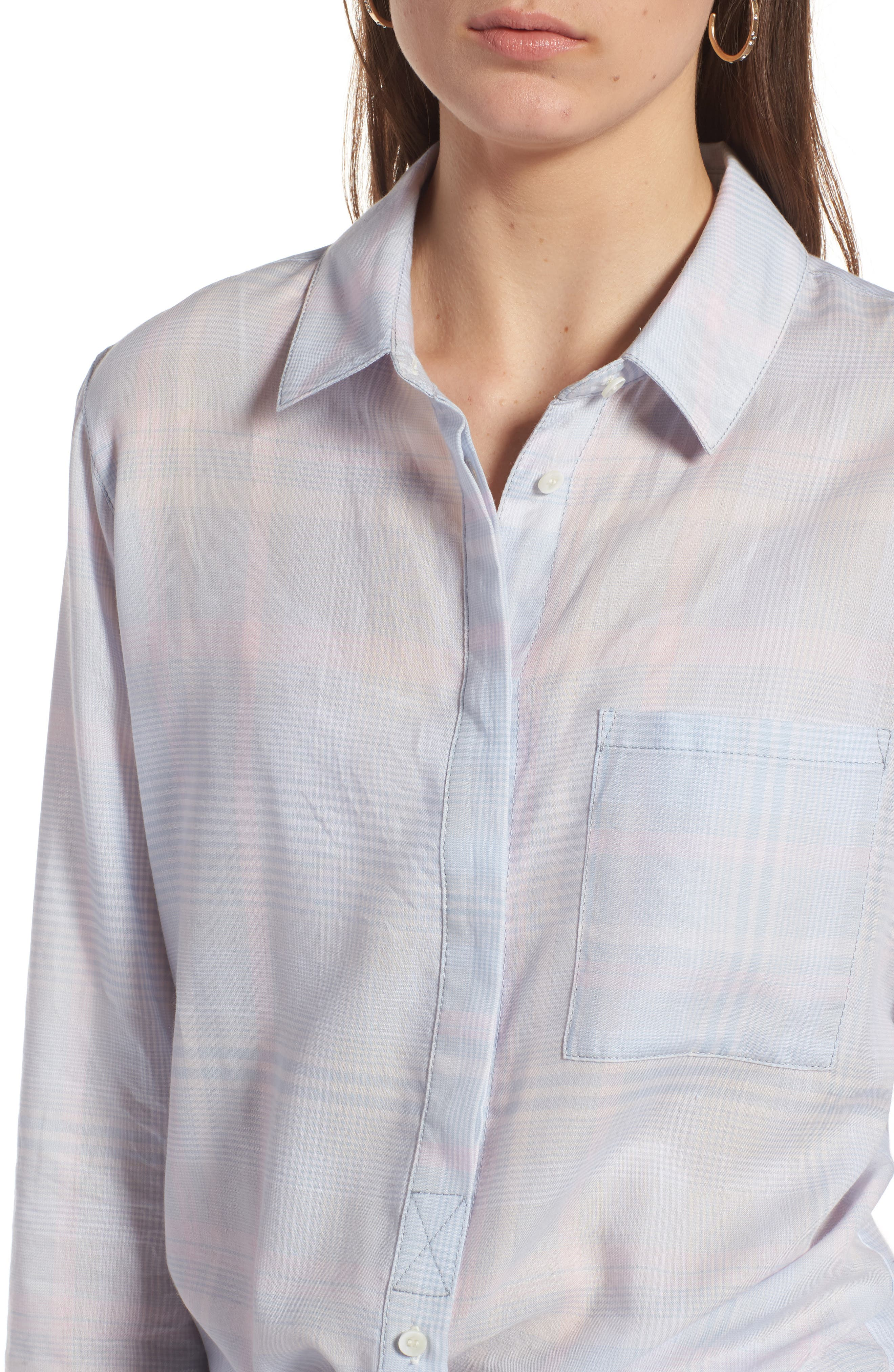 Classic Drapey Shirt,                             Alternate thumbnail 4, color,                             White Mini Glen