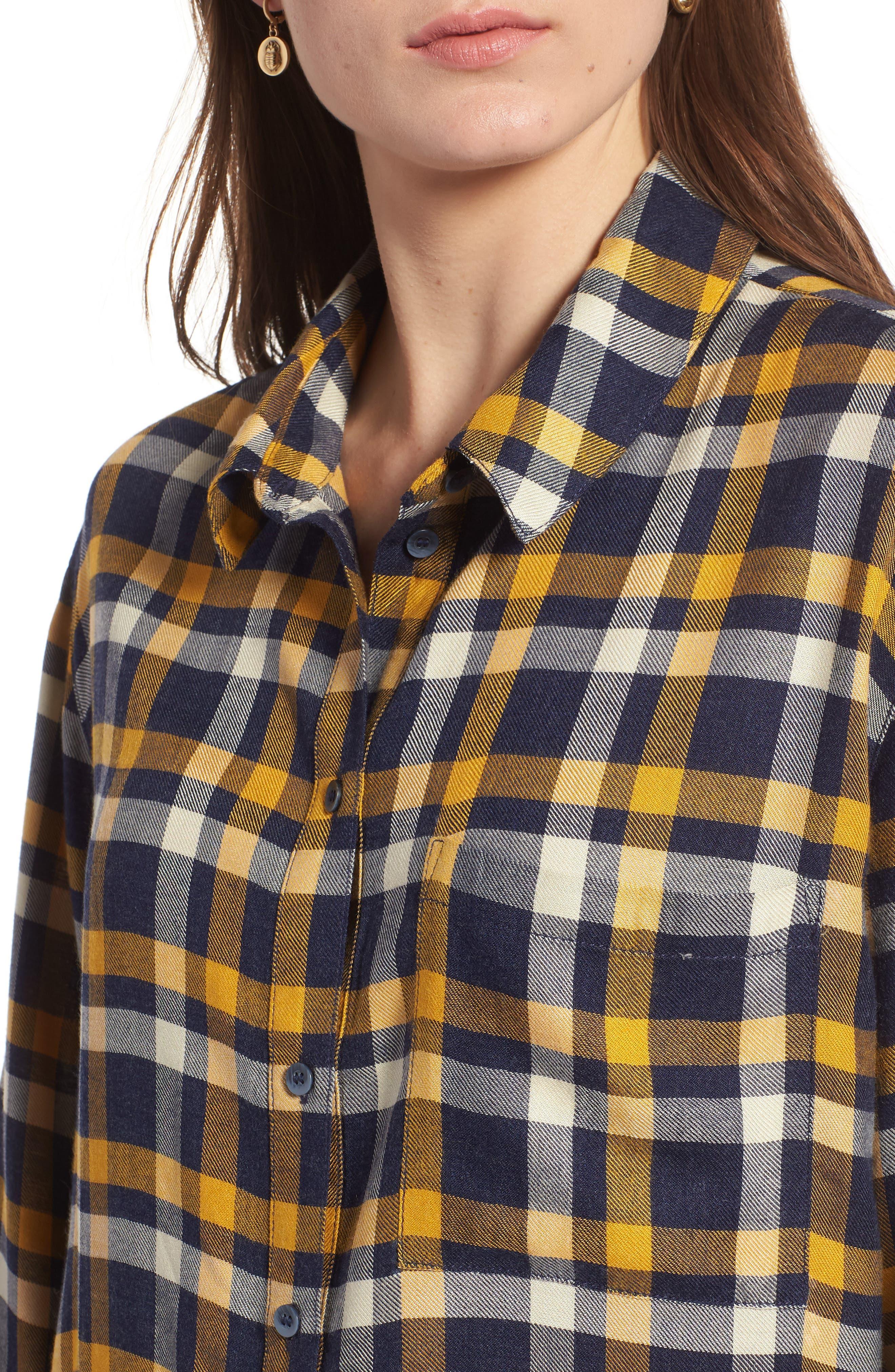 Plaid Boyfriend Shirt,                             Alternate thumbnail 4, color,                             Navy Maritime Offset Wndw Pane