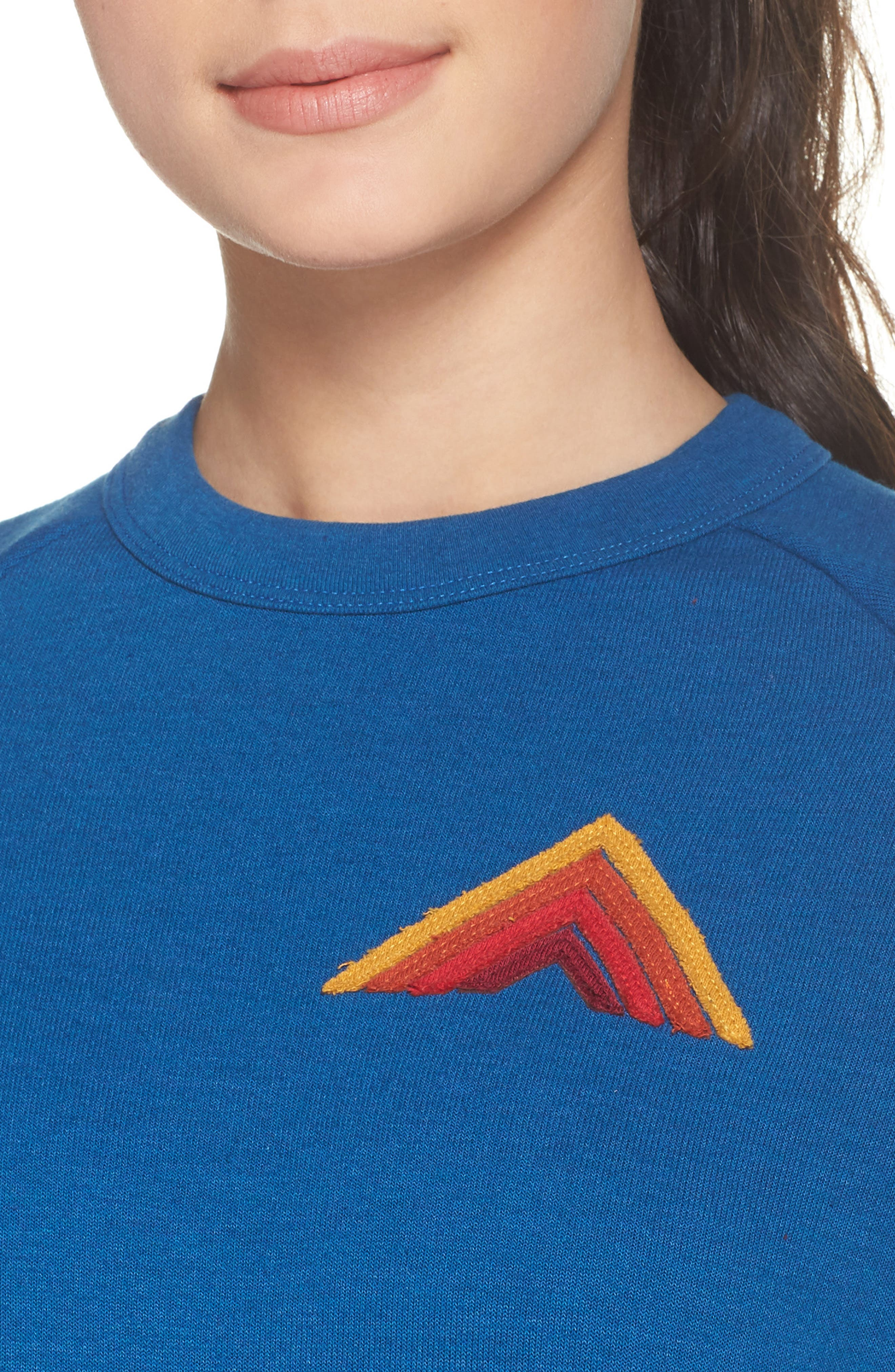 Mountain Stripe Crewneck Sweatshirt,                             Alternate thumbnail 4, color,                             Caribbean/ Red Stripes