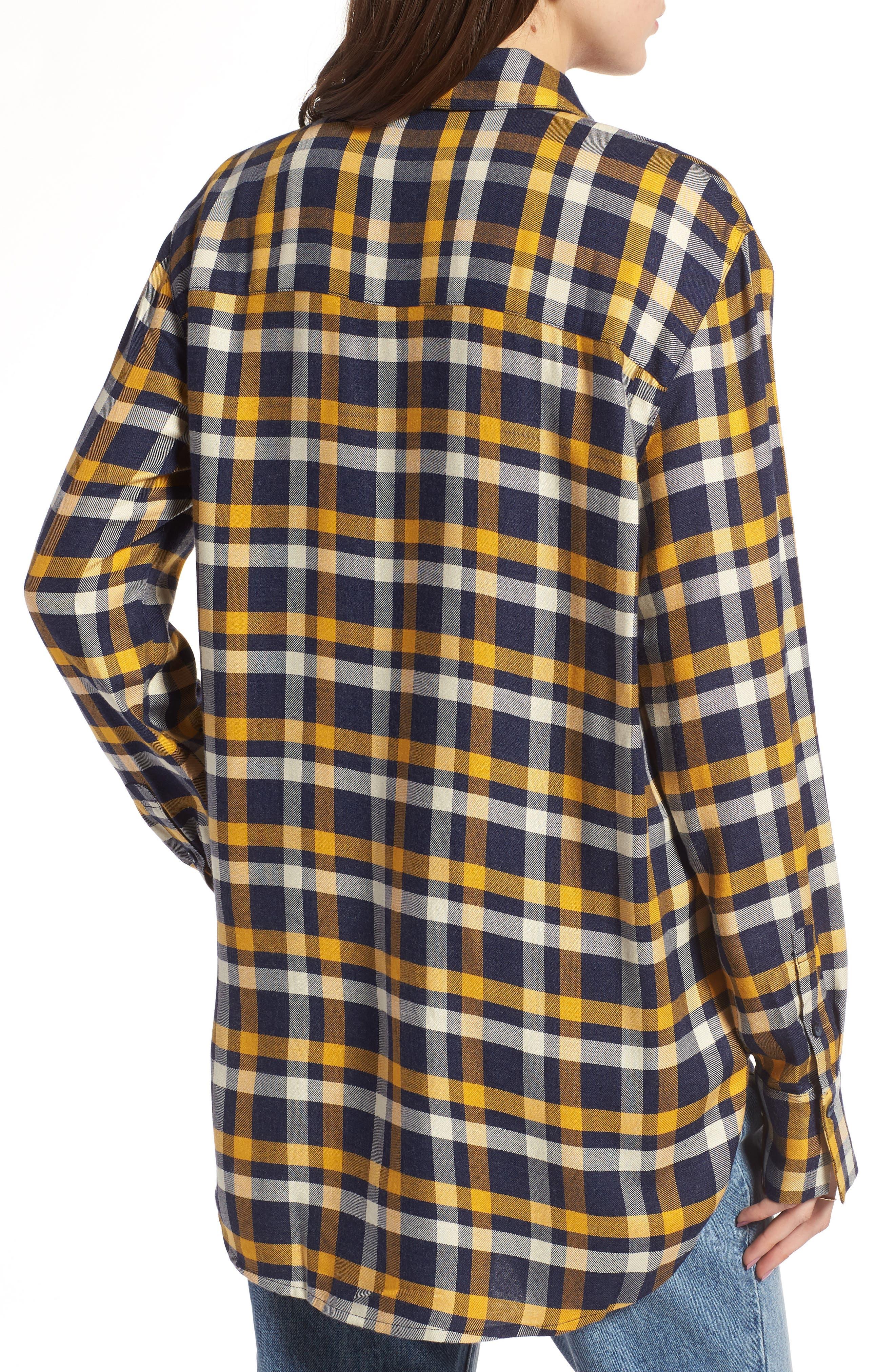 Plaid Boyfriend Shirt,                             Alternate thumbnail 2, color,                             Navy Maritime Offset Wndw Pane