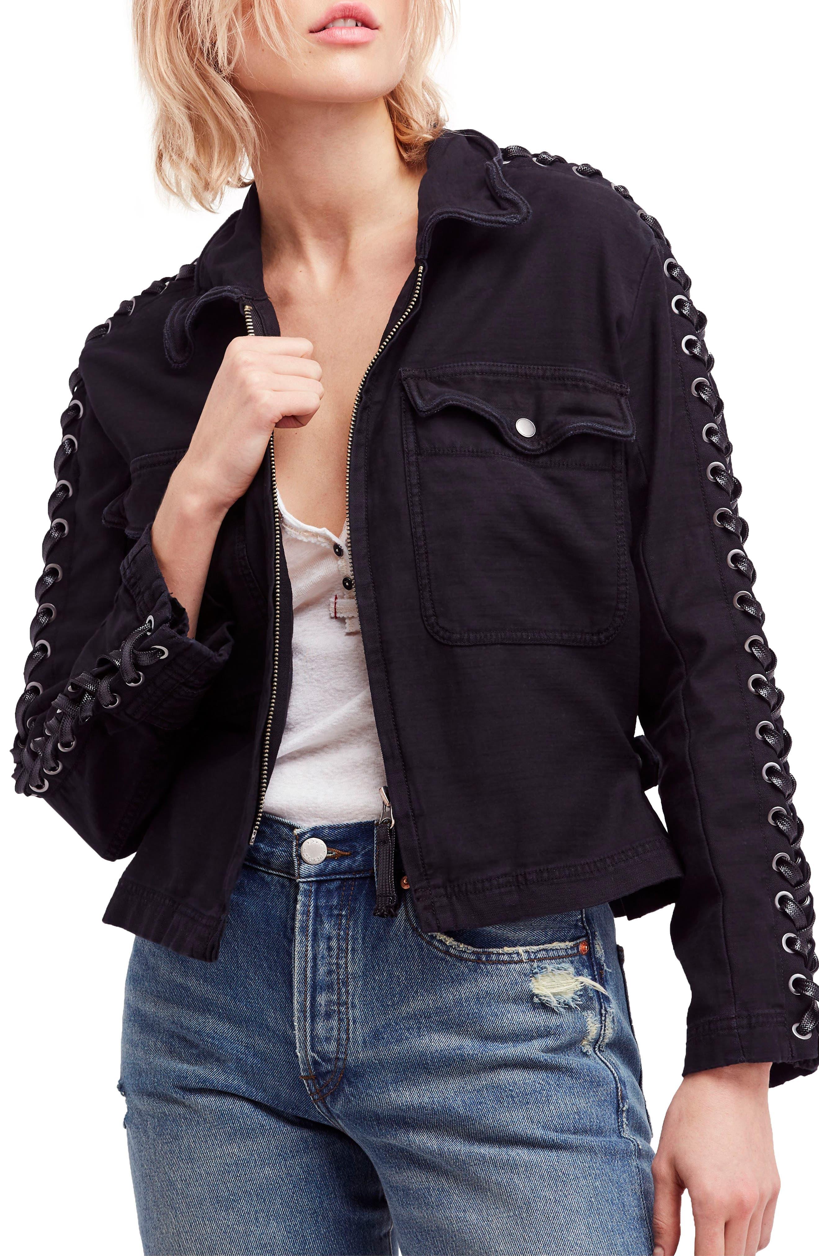 Faye Military Jacket,                         Main,                         color, Black