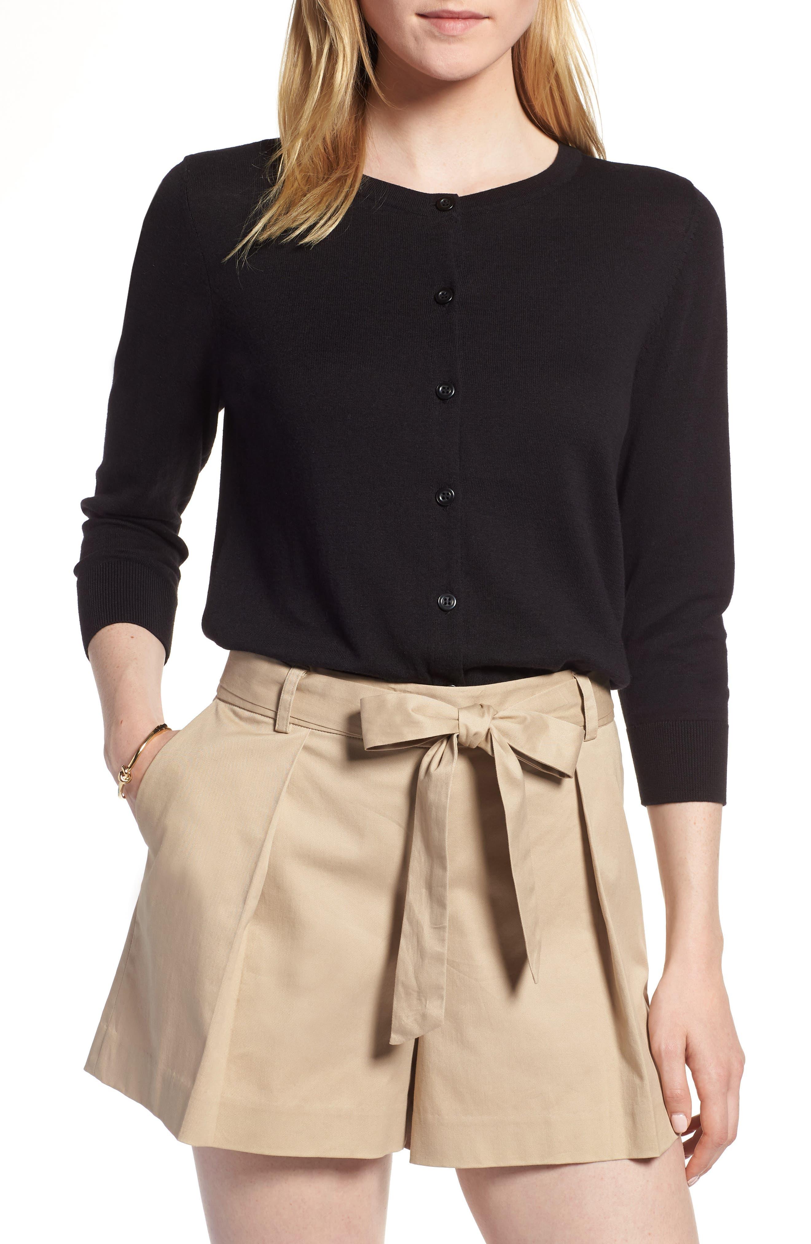 Cotton Blend Cardigan,                         Main,                         color, Black