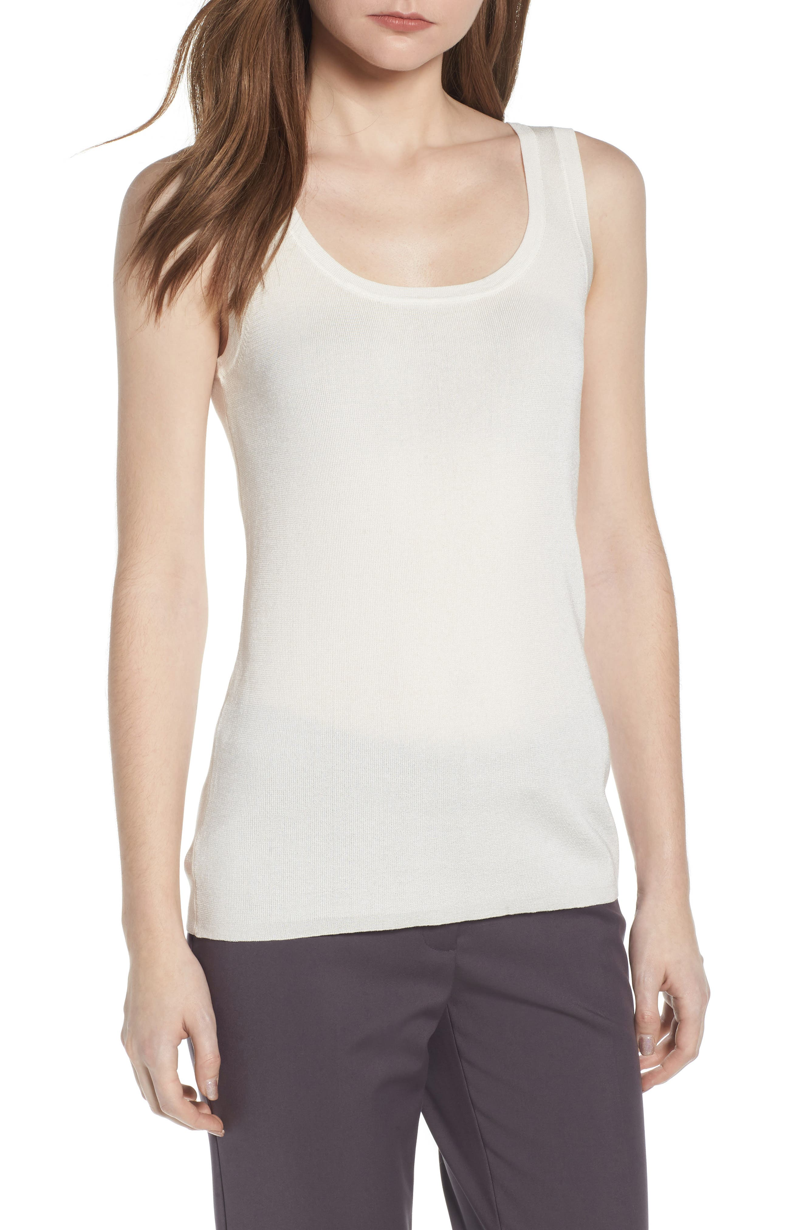 Sleeveless Knit Tank,                             Main thumbnail 1, color,                             White