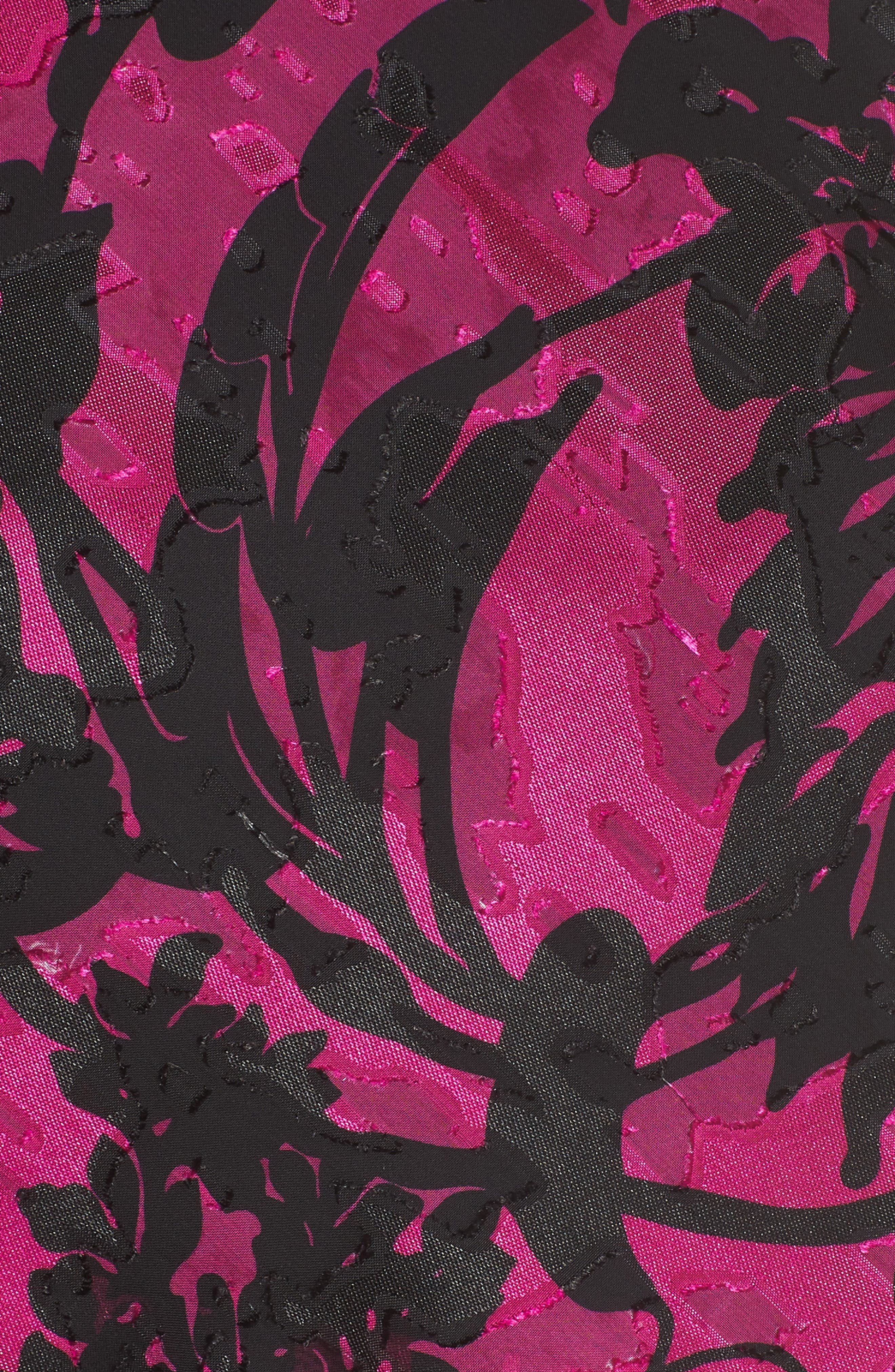 Print Tiered Blouse,                             Alternate thumbnail 6, color,                             Black/ Magenta