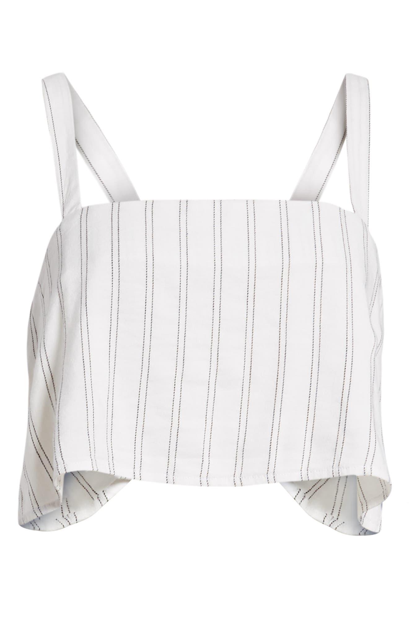 Tulum Stripe Crop Camisole,                             Alternate thumbnail 6, color,                             White Multi