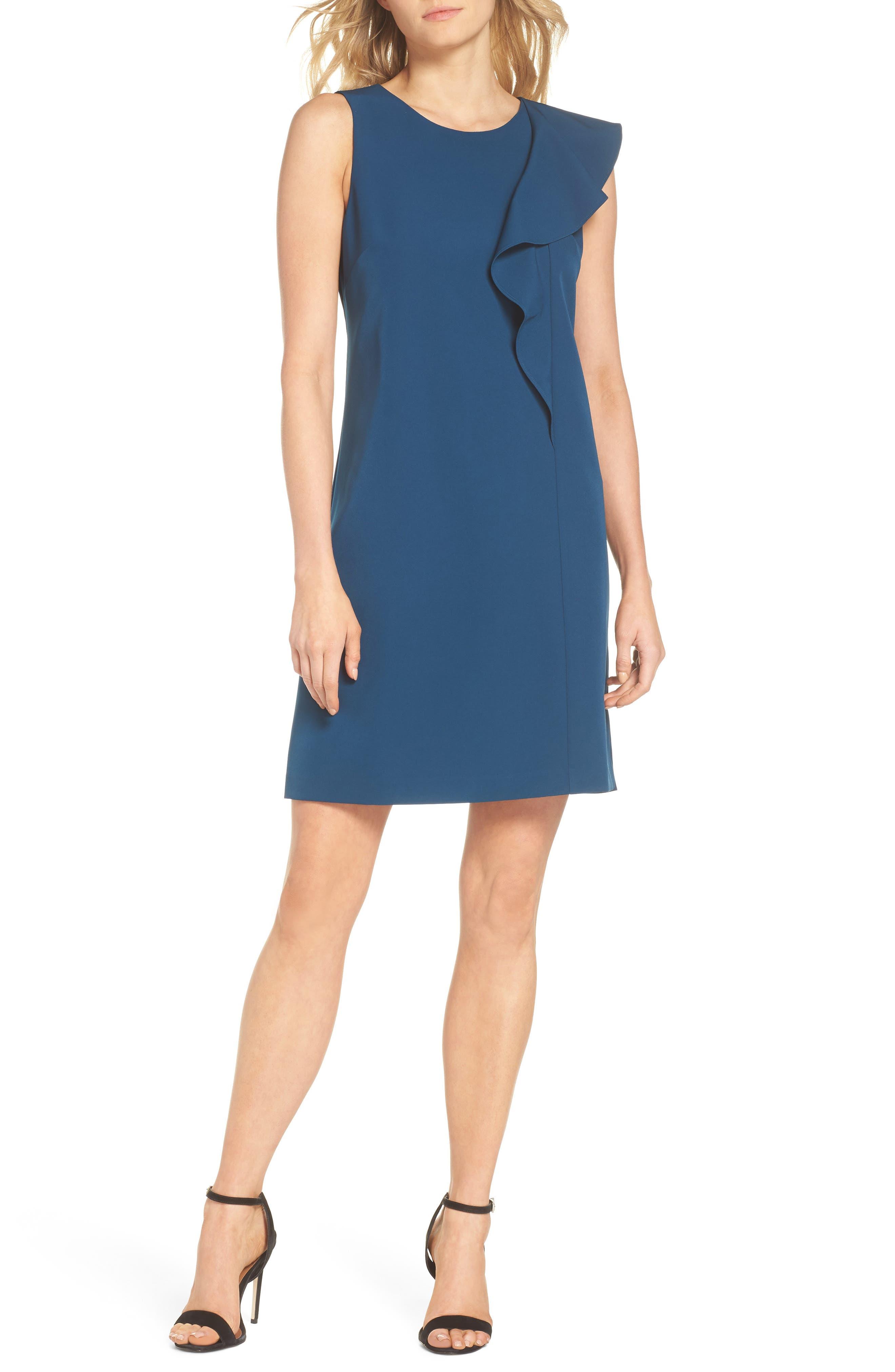 Ruffle Crepe A-Line Dress,                         Main,                         color, Deep Teal