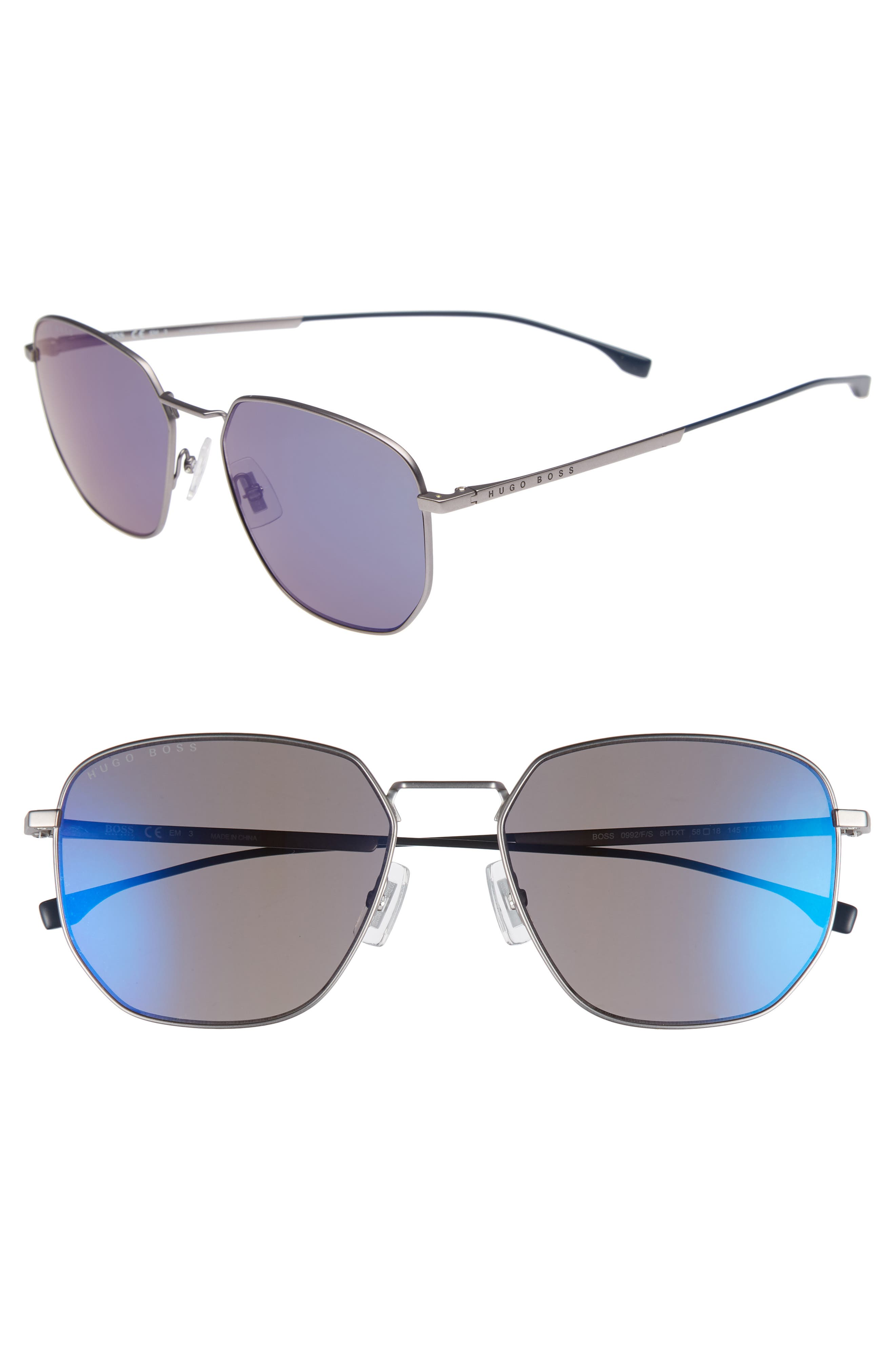 Special Fit 58mm Polarized Titanium Aviator Sunglasses,                         Main,                         color, Grey/ Blue