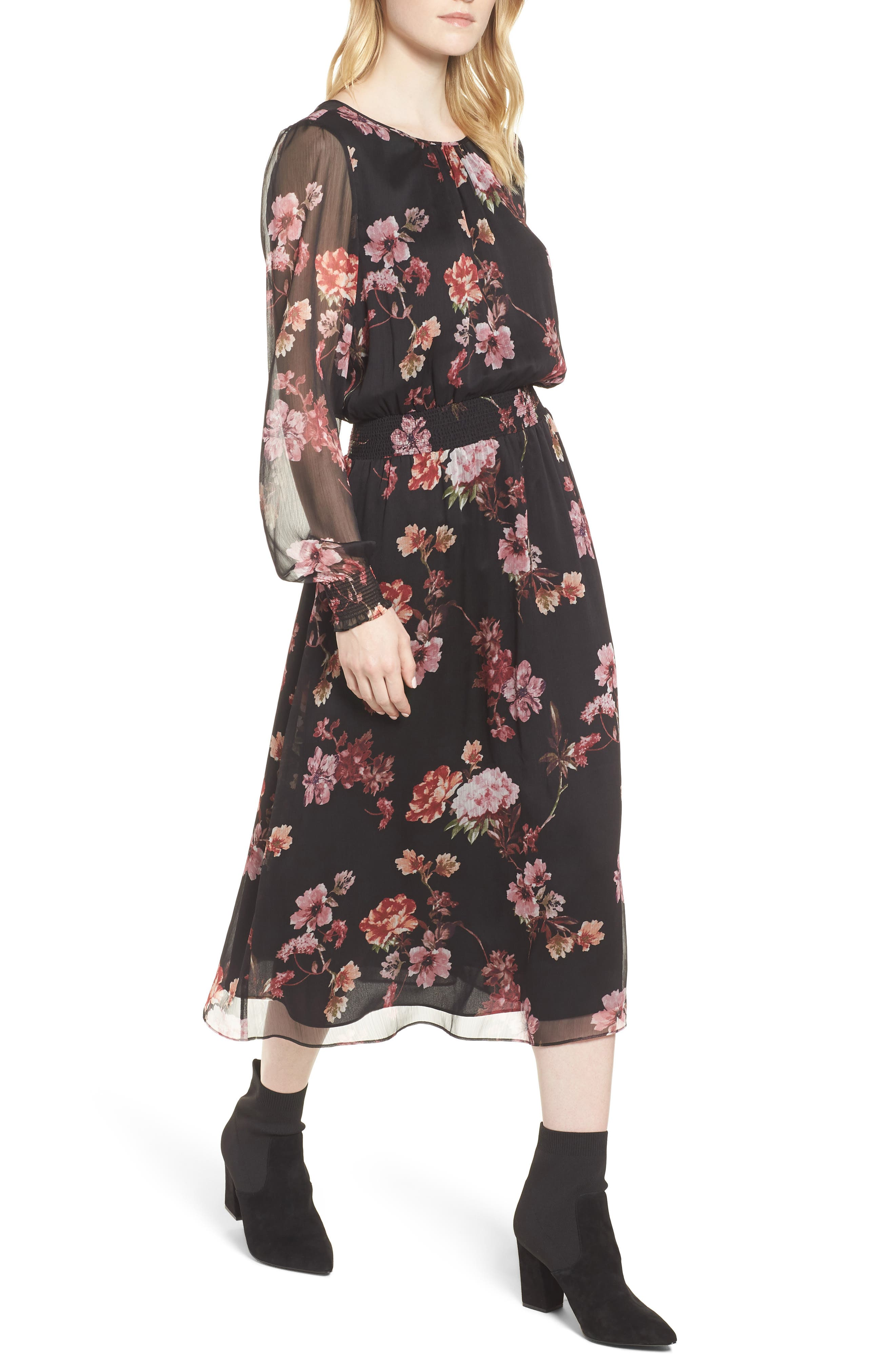 Garden Fleur Chiffon Blouson Dress,                             Main thumbnail 1, color,                             Rich Black