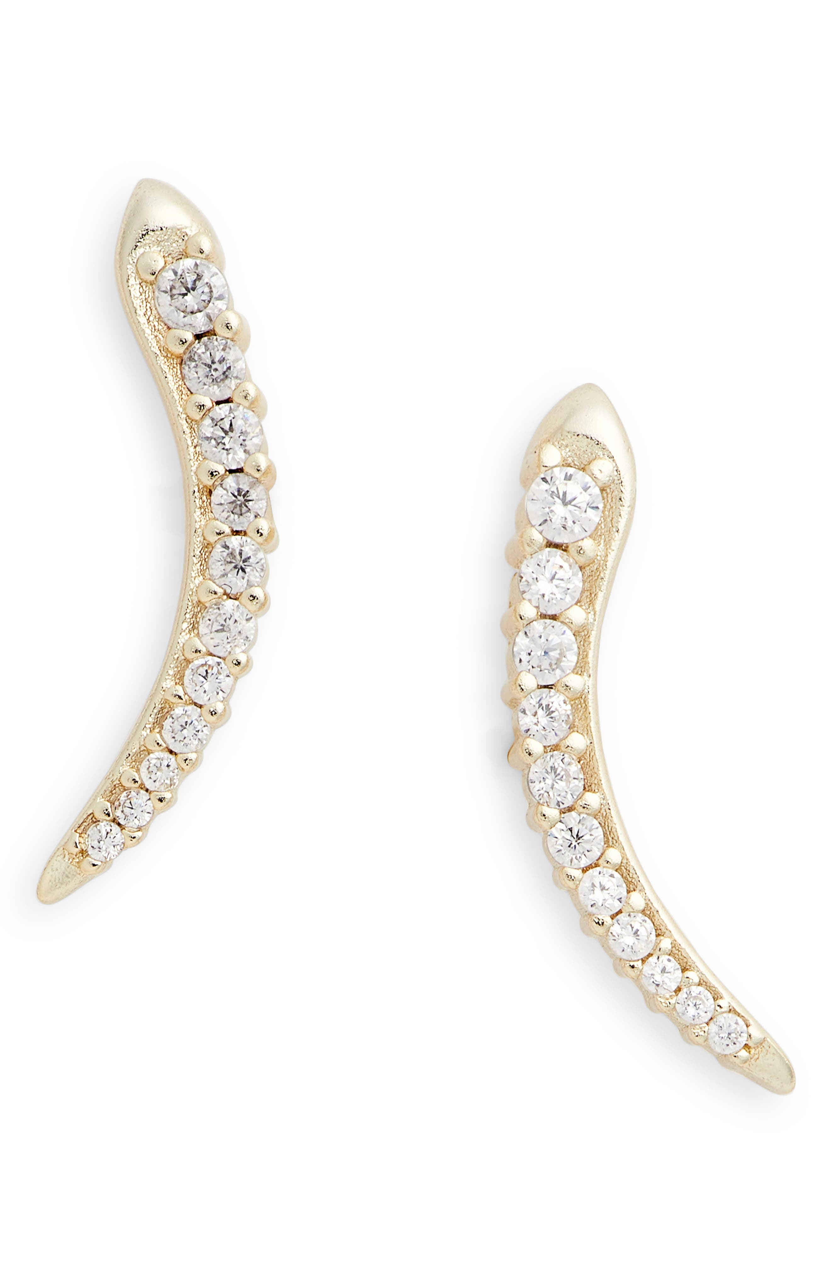 Whit Crystal Ear Climbers,                         Main,                         color, Gold