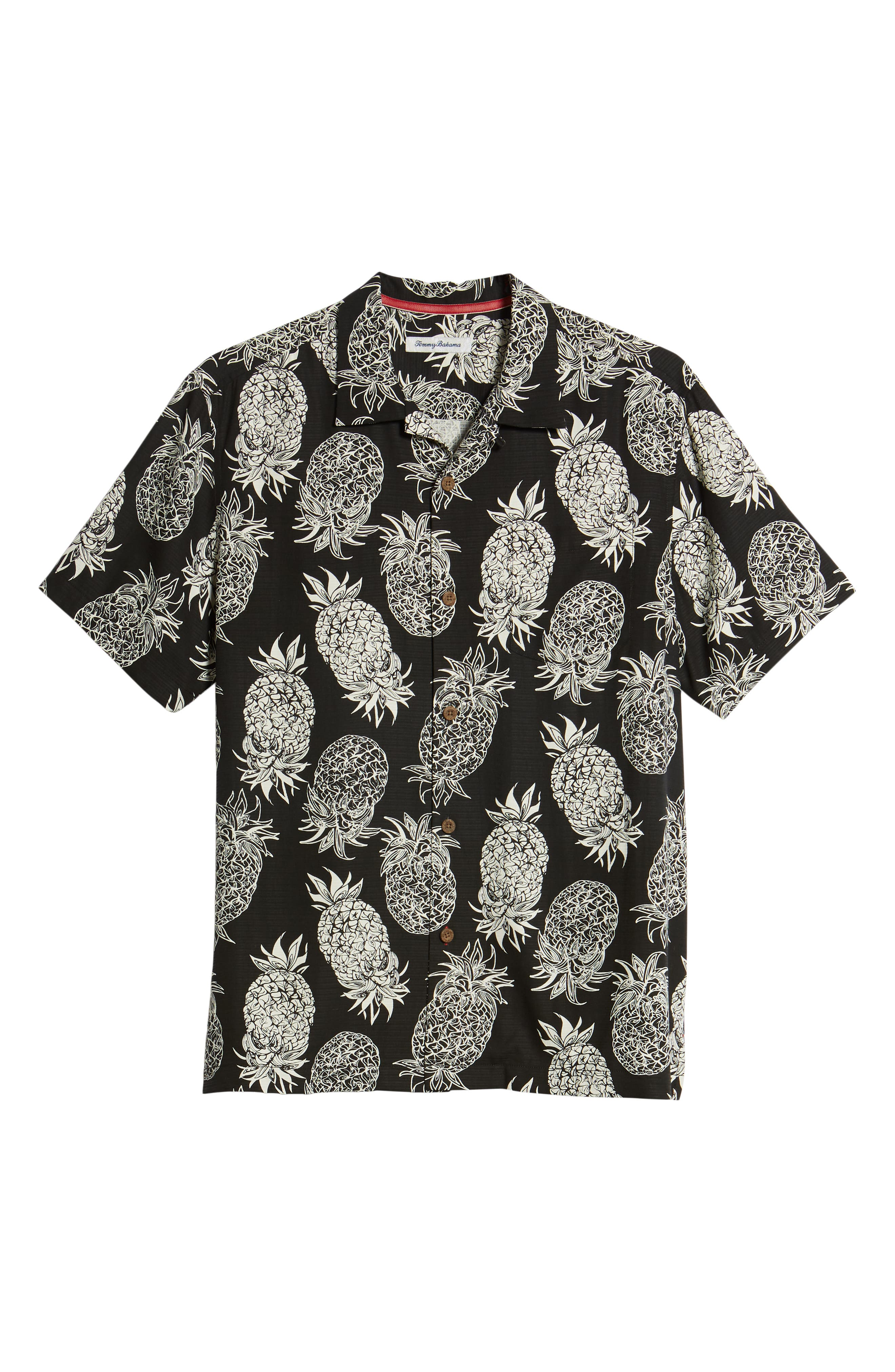 Piña Piñata Regular Fit Silk Camp Shirt,                             Alternate thumbnail 6, color,                             Black
