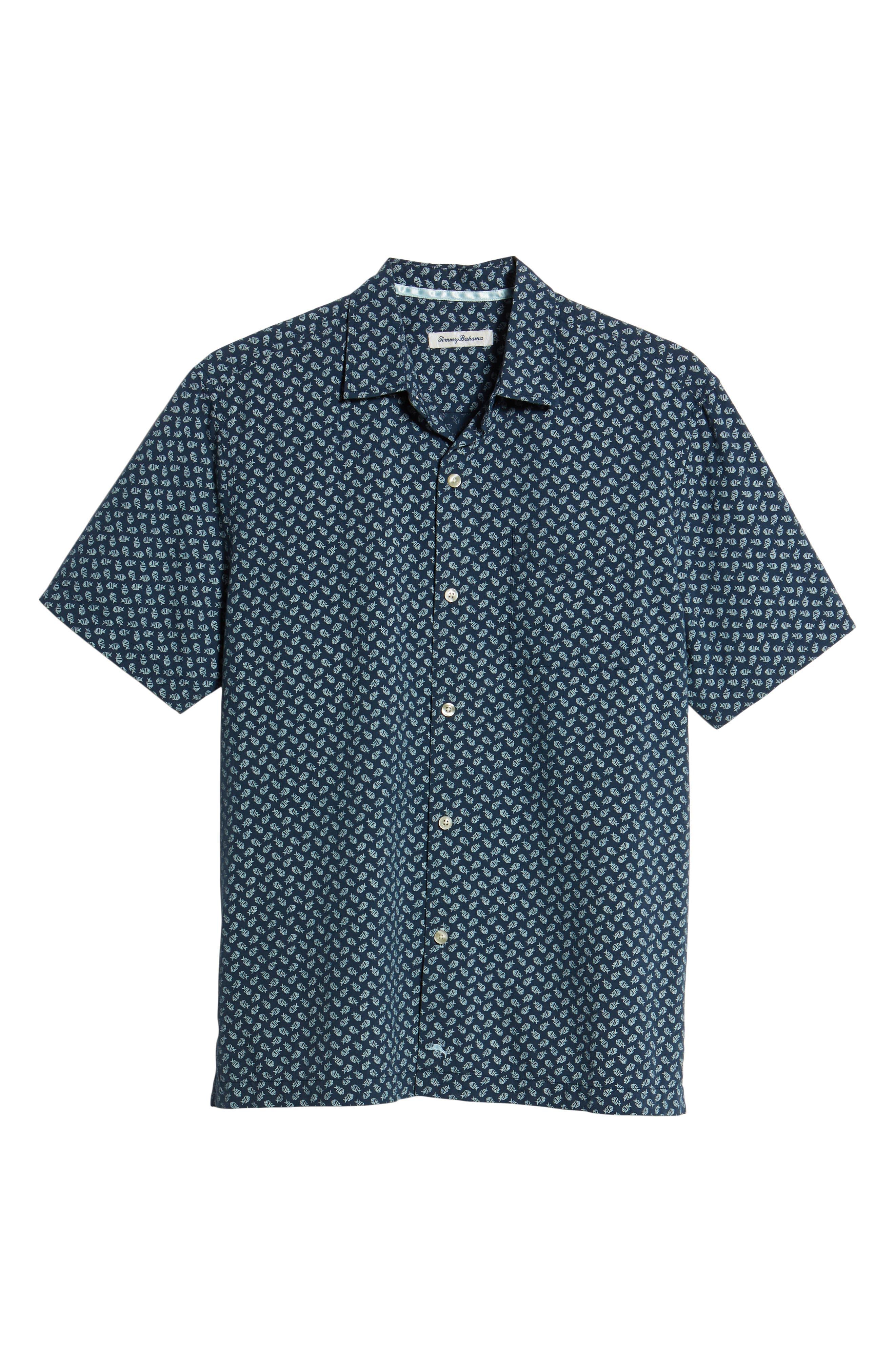 A-Fish-ianado Cotton & Silk Camp Shirt,                             Alternate thumbnail 6, color,                             Ocean Deep