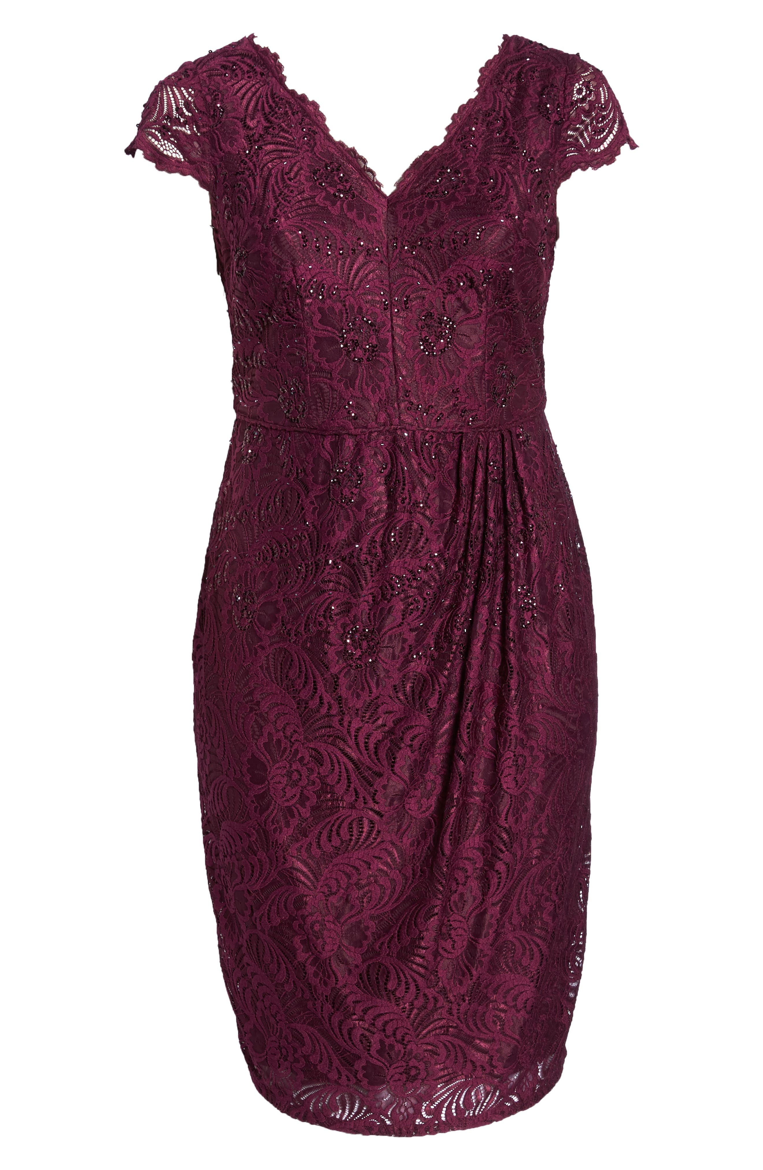 Embellished Stretch Lace Sheath Dress,                             Alternate thumbnail 7, color,                             Mulberry