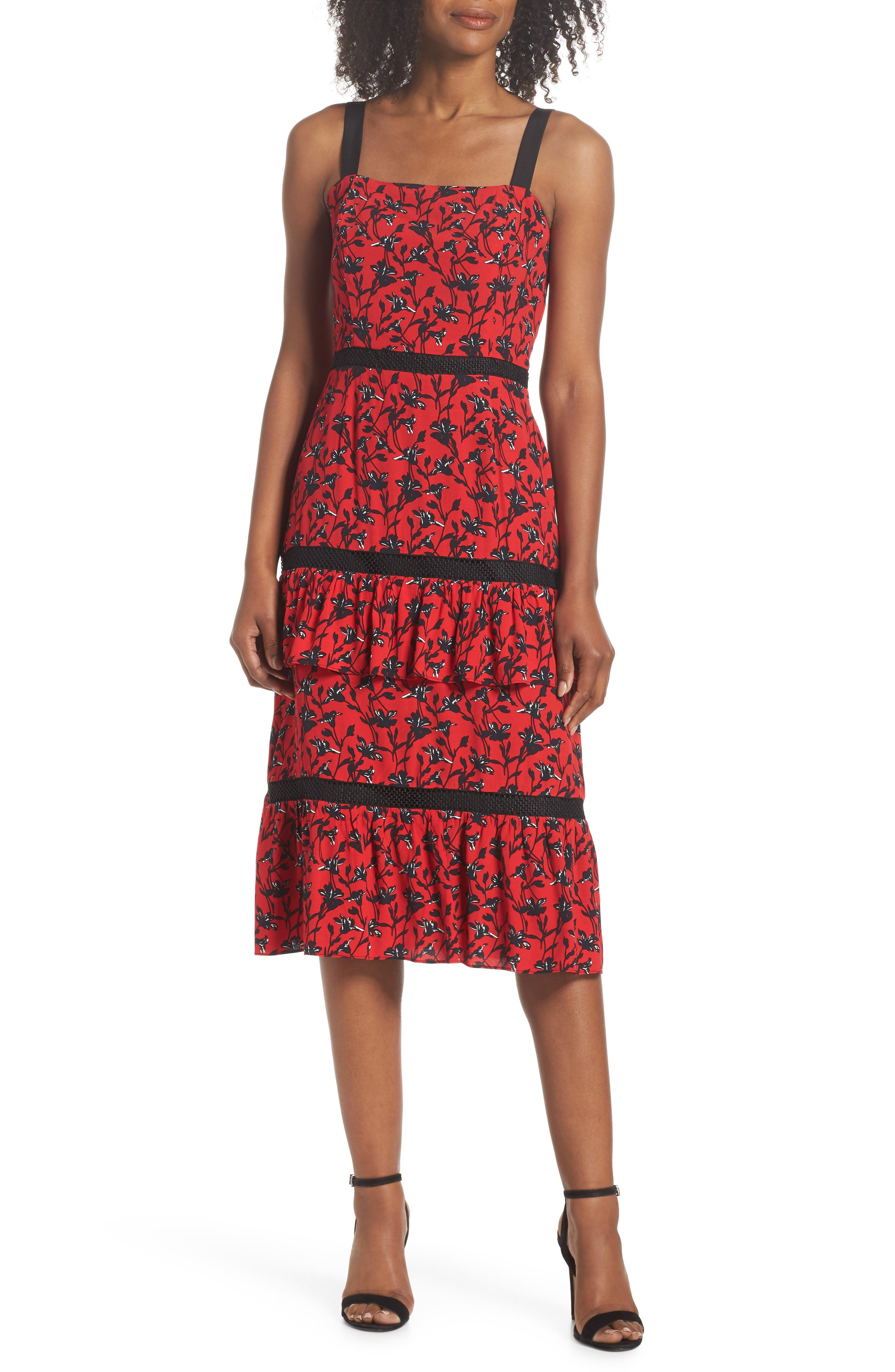 ADELYN RAE ISABEL TIERED RUFFLE MIDI DRESS