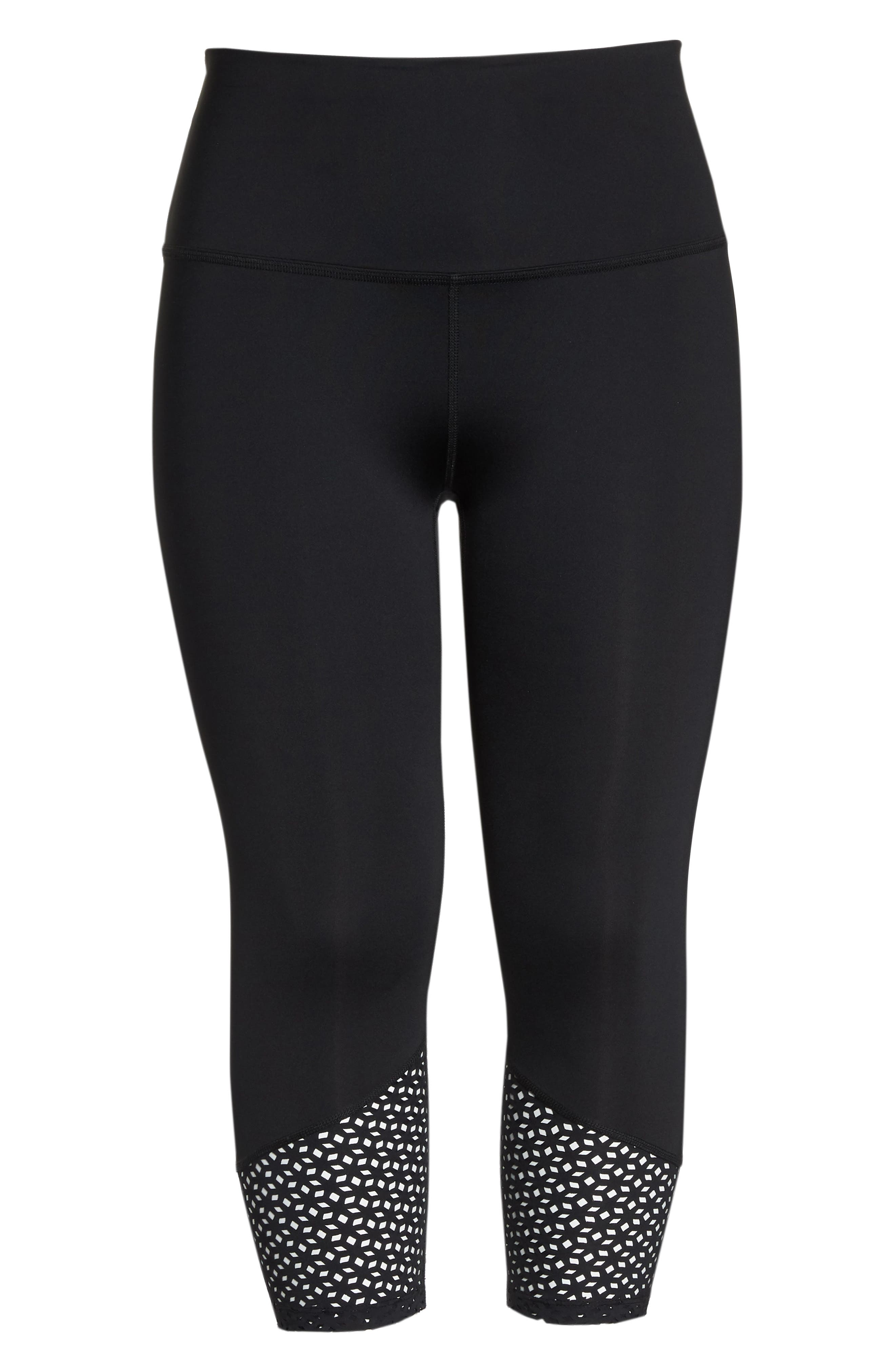 Perfect Angles High Waist Leggings,                             Alternate thumbnail 6, color,                             Black