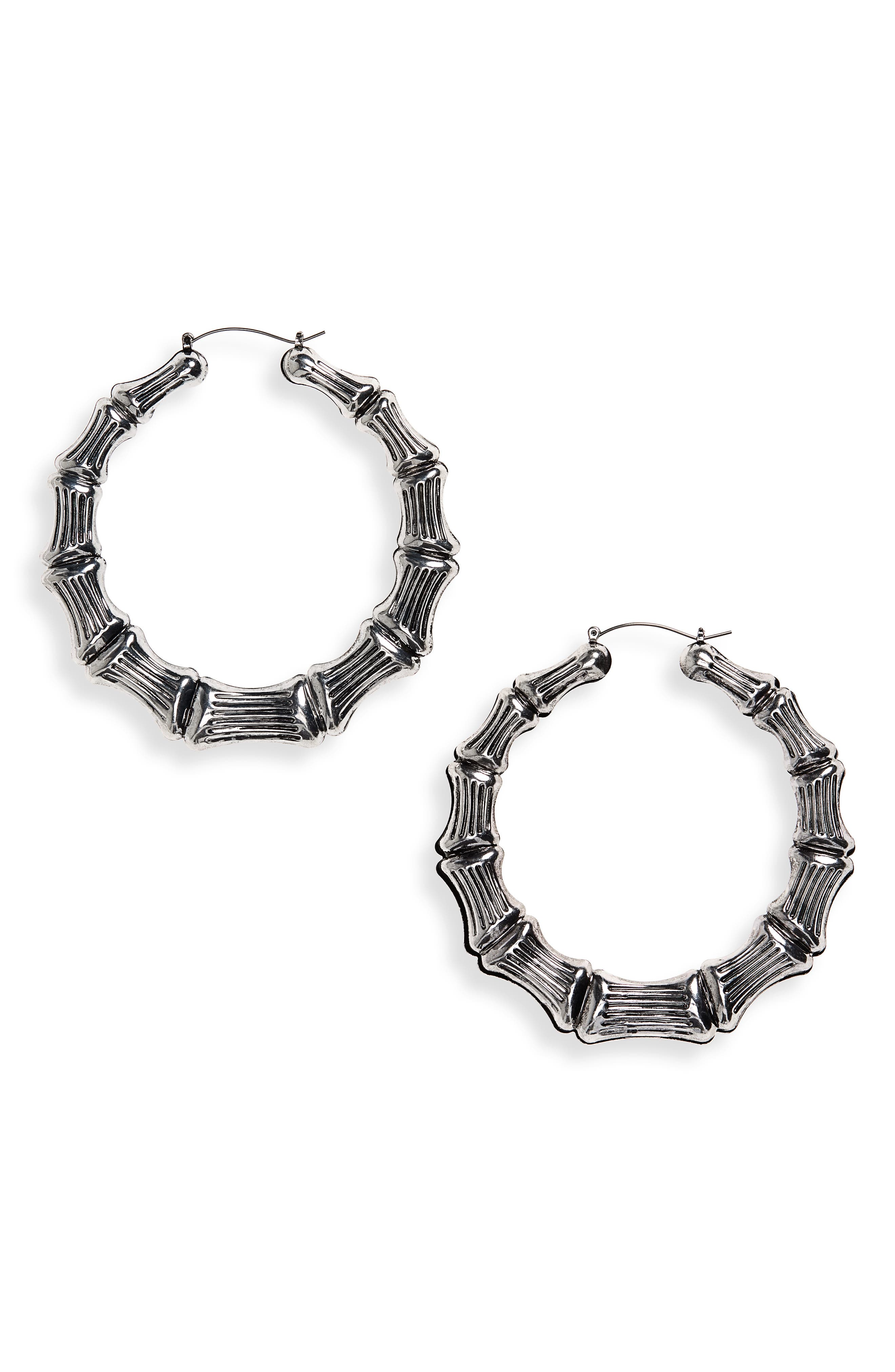 Bamboo Hoop Earrings,                         Main,                         color, Burnish Silver