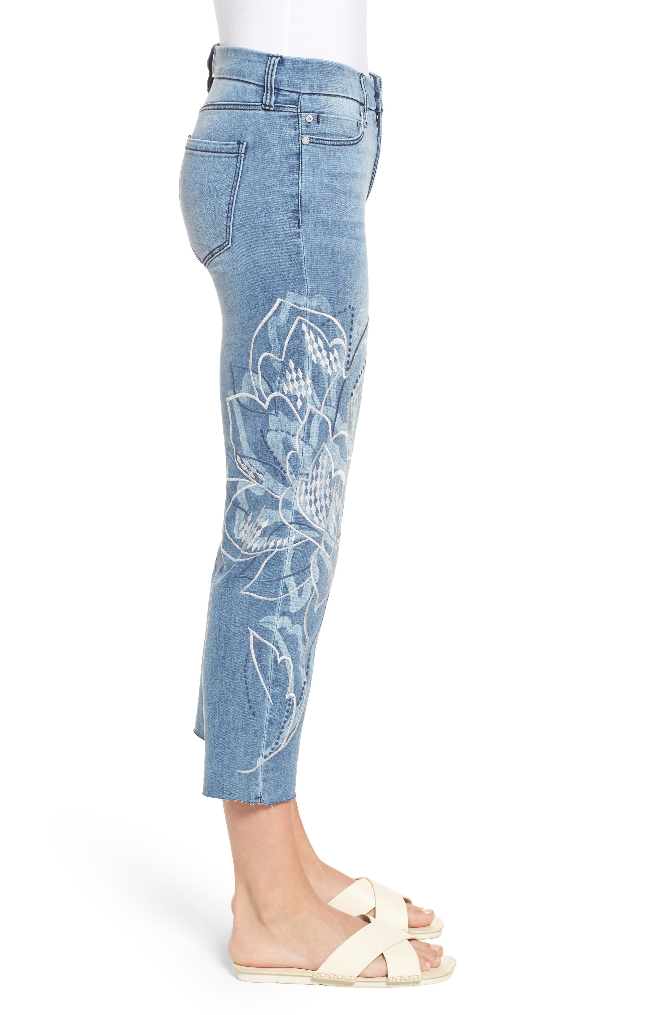 LVPL by Liverpool Carter Floral Embroidery Crop Jeans,                             Alternate thumbnail 4, color,                             Devonshire Wash