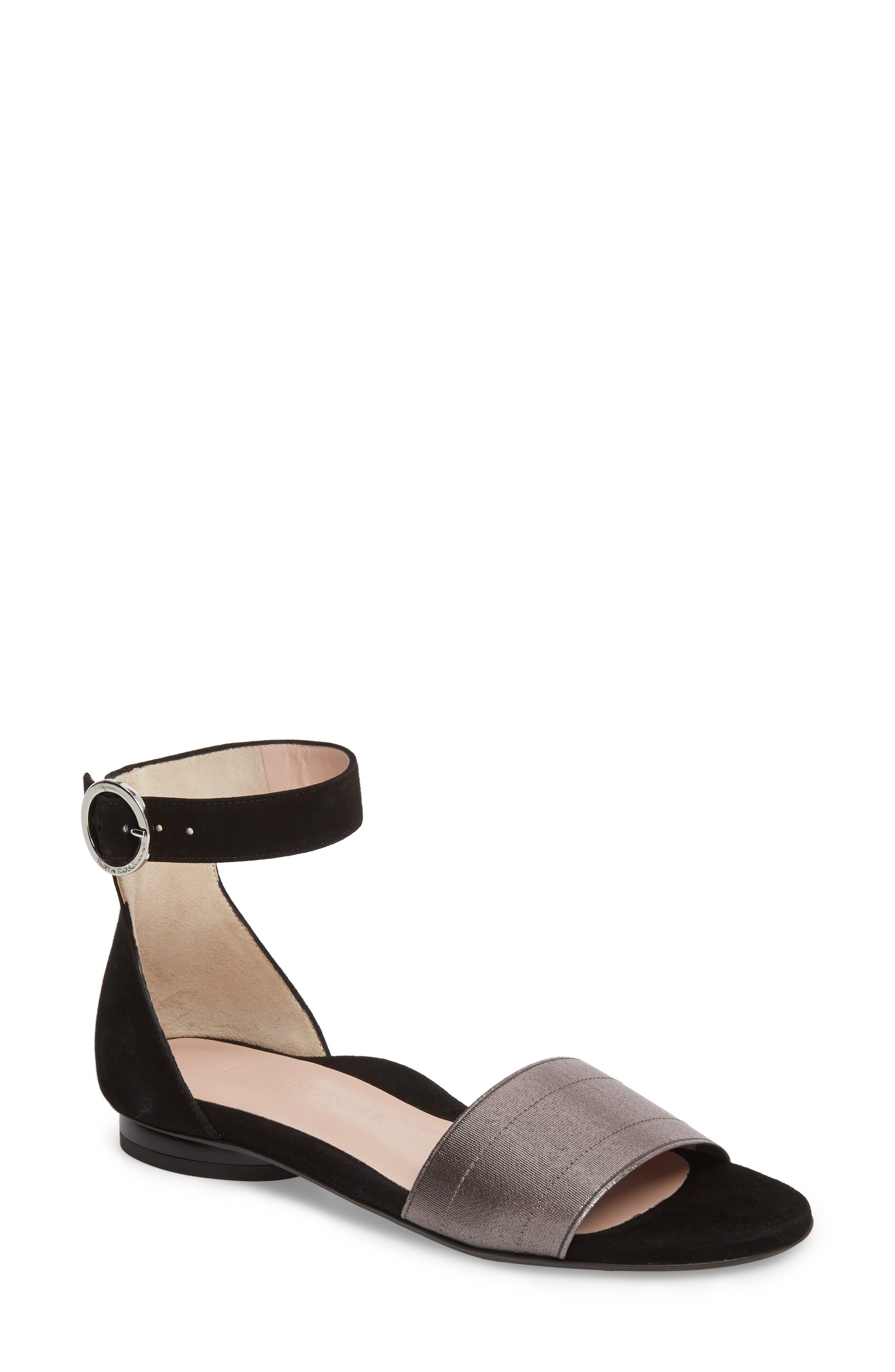 Donati Ankle Strap Sandal,                         Main,                         color, Black/ Gunmetal Suede