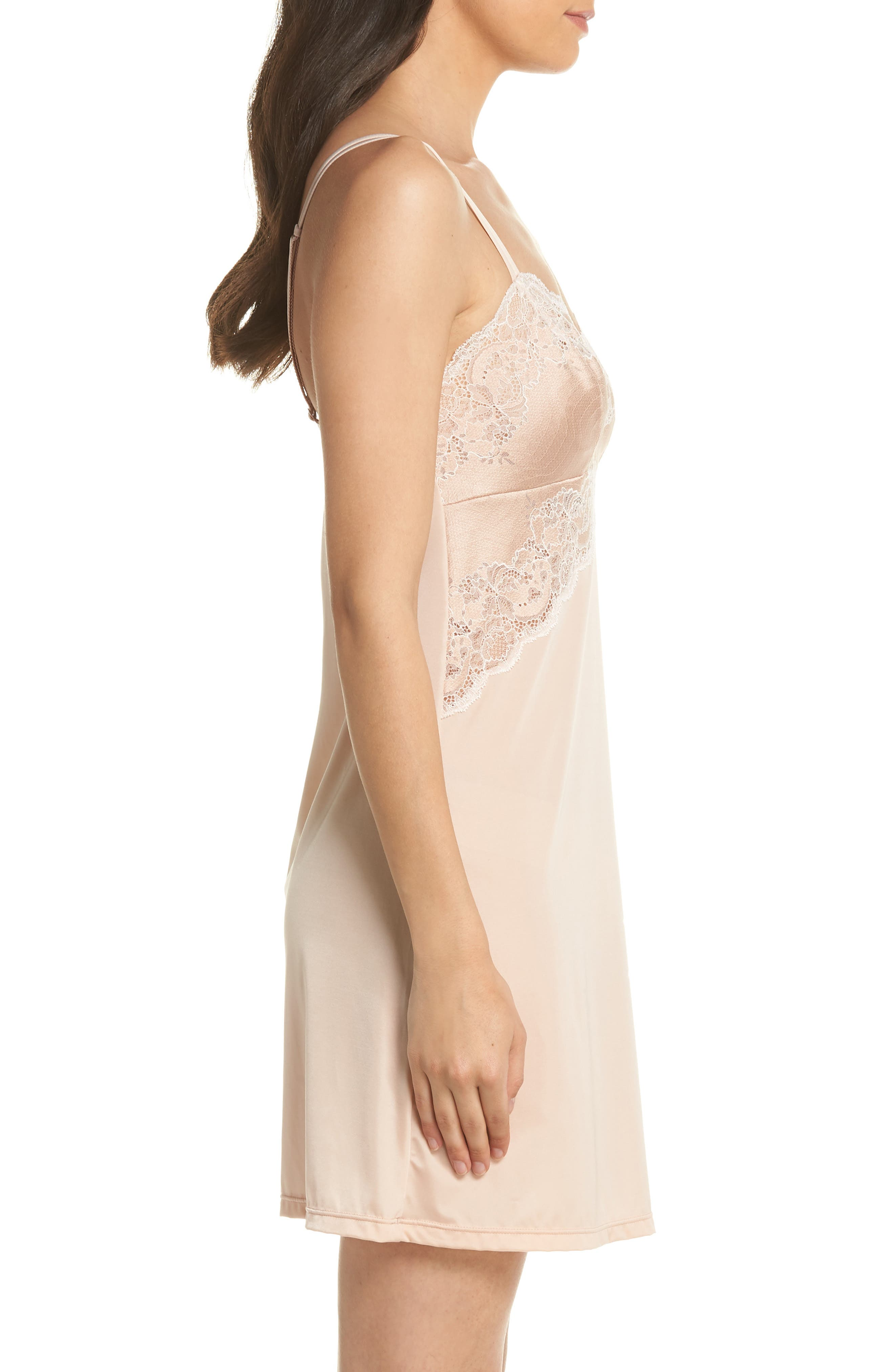 Lace Affair Chemise,                             Alternate thumbnail 3, color,                             Rose Dust/ Angel Wing