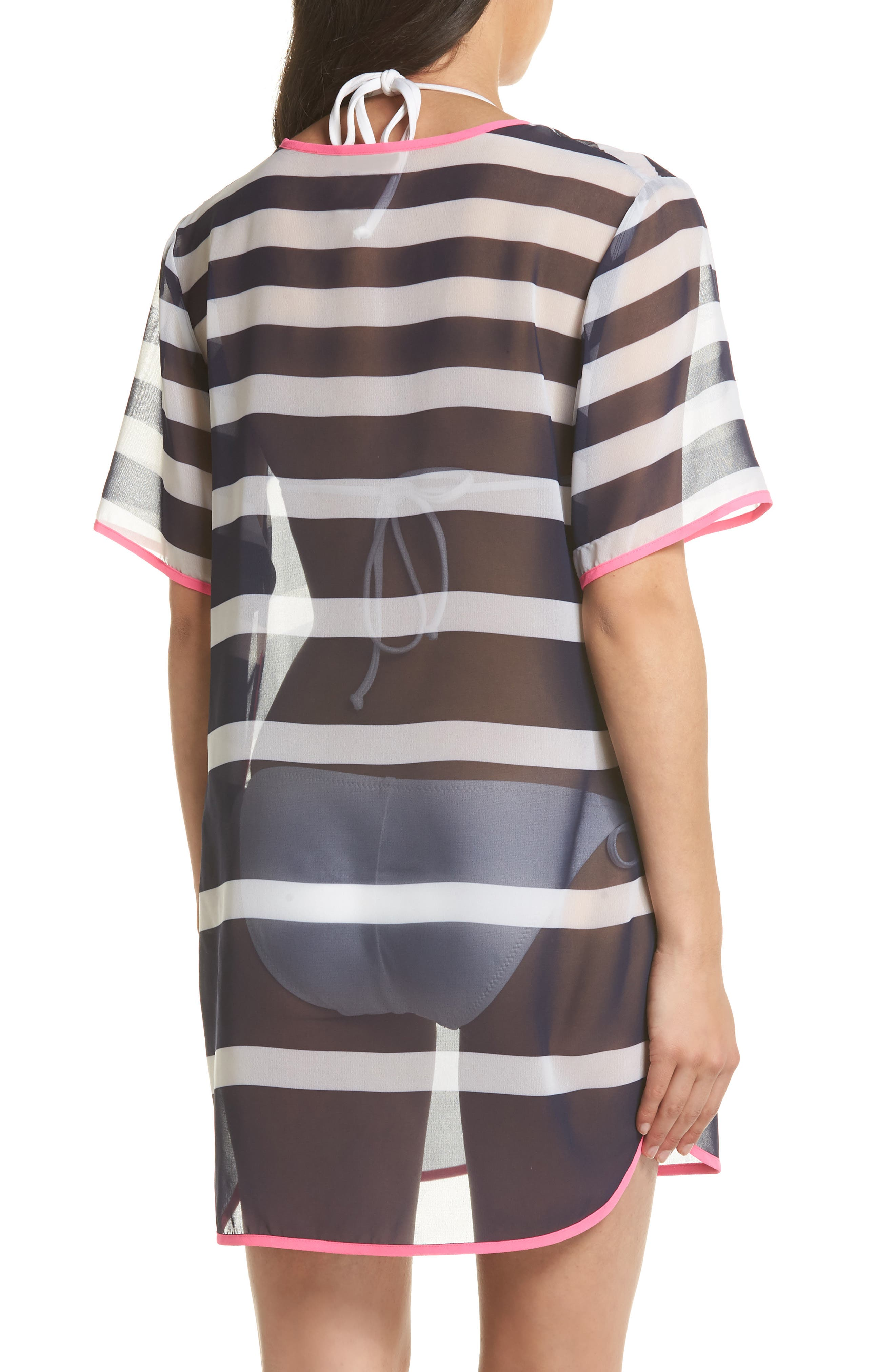 Stripe Cover-Up Tunic,                             Alternate thumbnail 2, color,                             Navy