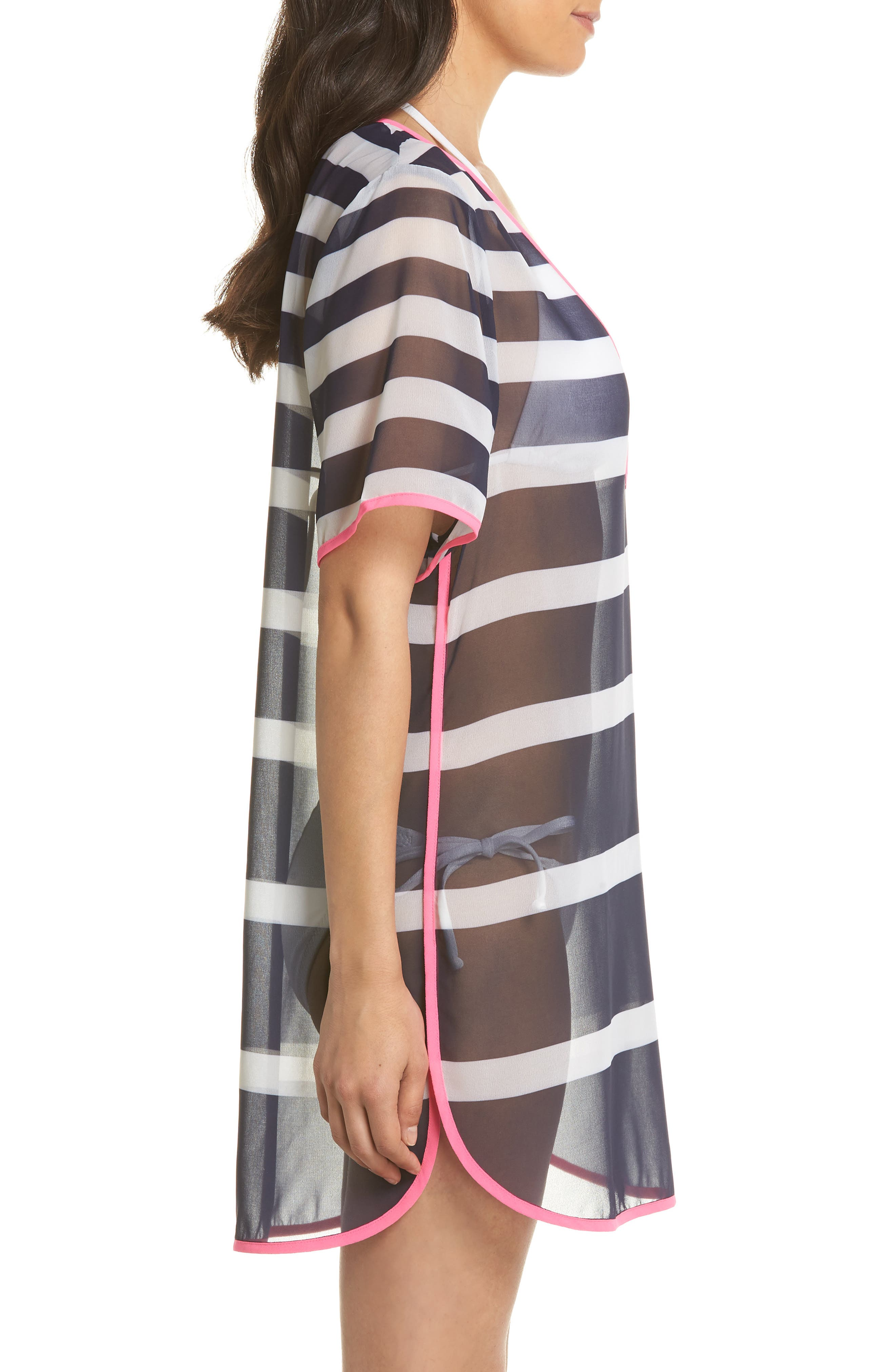 Stripe Cover-Up Tunic,                             Alternate thumbnail 3, color,                             Navy